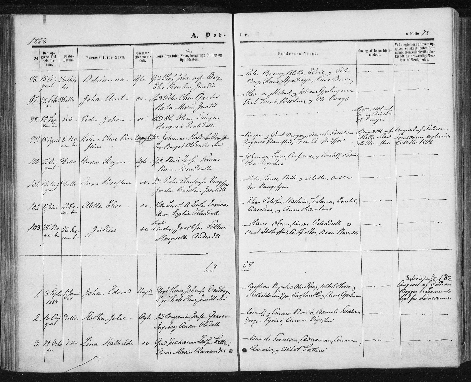 SAT, Ministerialprotokoller, klokkerbøker og fødselsregistre - Nord-Trøndelag, 784/L0670: Ministerialbok nr. 784A05, 1860-1876, s. 73