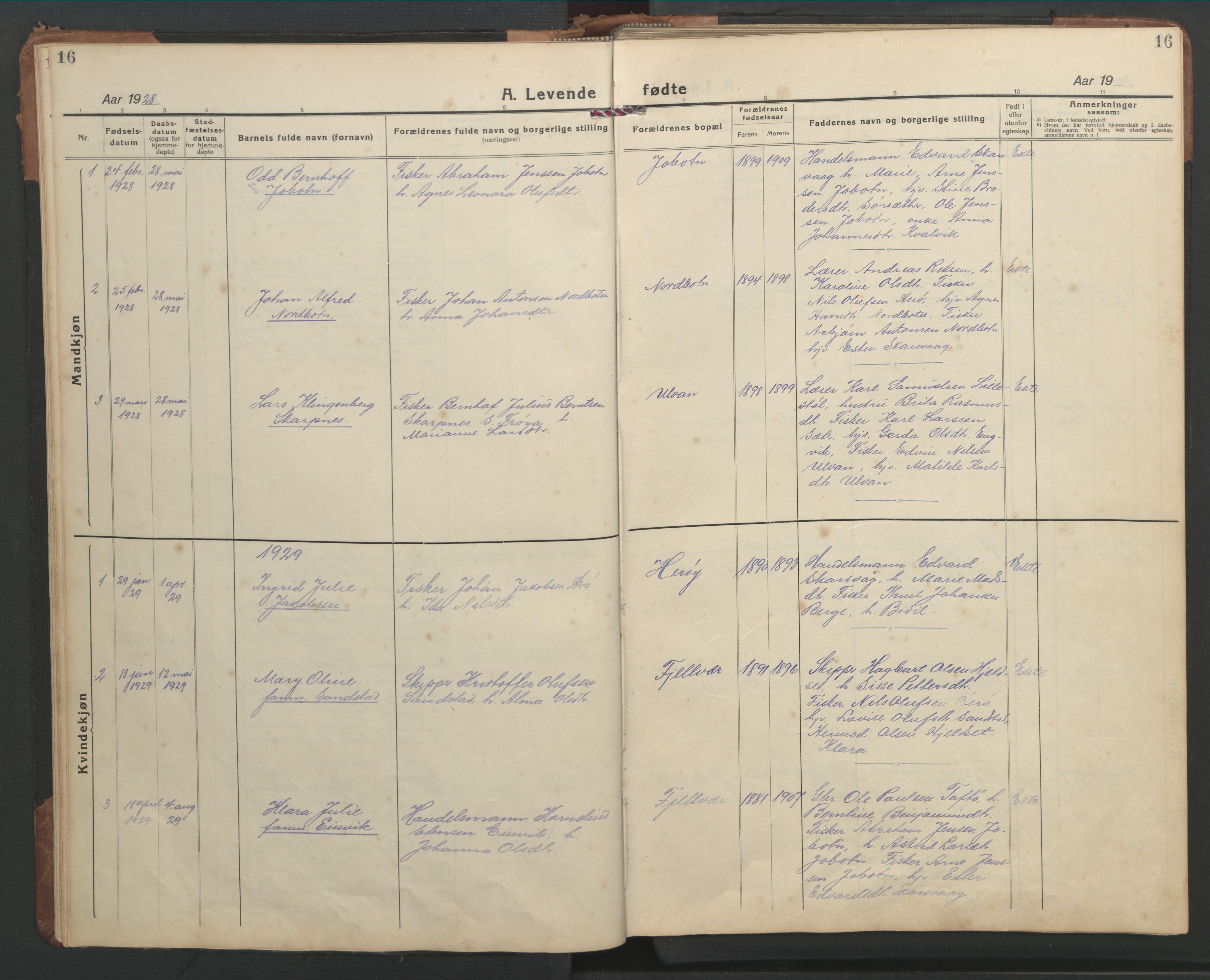 SAT, Ministerialprotokoller, klokkerbøker og fødselsregistre - Sør-Trøndelag, 638/L0569: Klokkerbok nr. 638C01, 1923-1961, s. 16