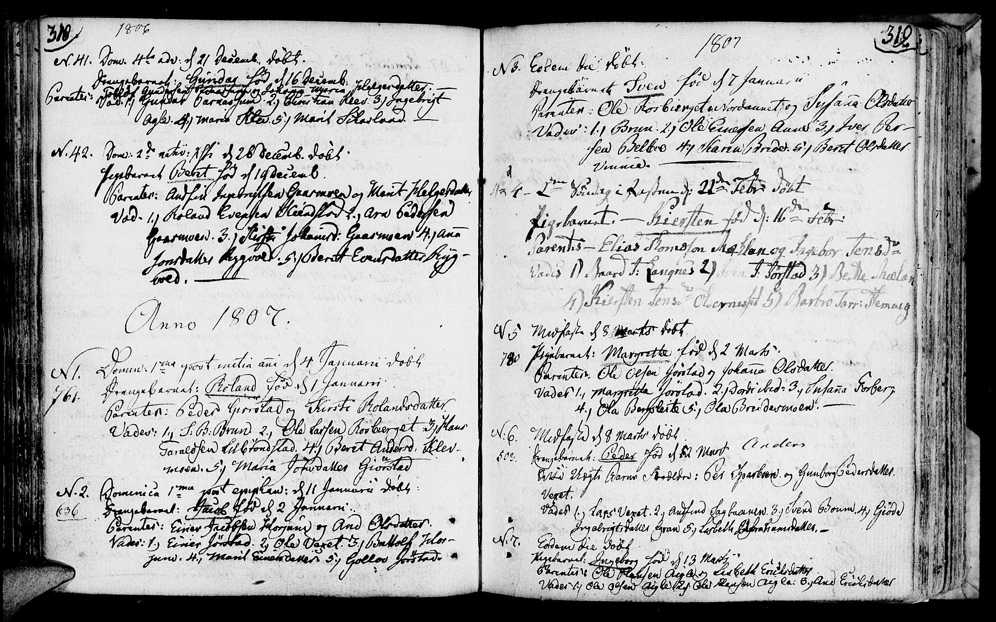 SAT, Ministerialprotokoller, klokkerbøker og fødselsregistre - Nord-Trøndelag, 749/L0468: Ministerialbok nr. 749A02, 1787-1817, s. 318-319