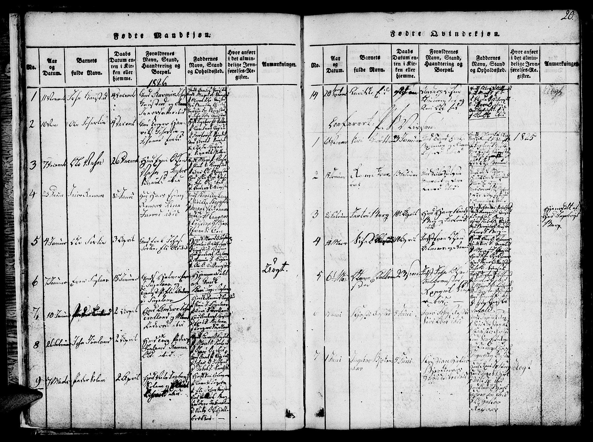 SAT, Ministerialprotokoller, klokkerbøker og fødselsregistre - Sør-Trøndelag, 694/L1130: Klokkerbok nr. 694C02, 1816-1857, s. 20