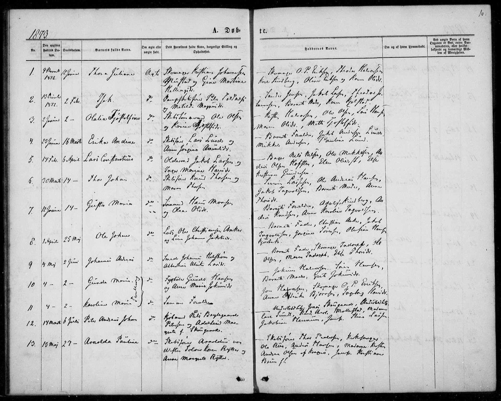 SAKO, Langesund kirkebøker, F/Fa/L0001: Ministerialbok nr. 1, 1870-1877, s. 10