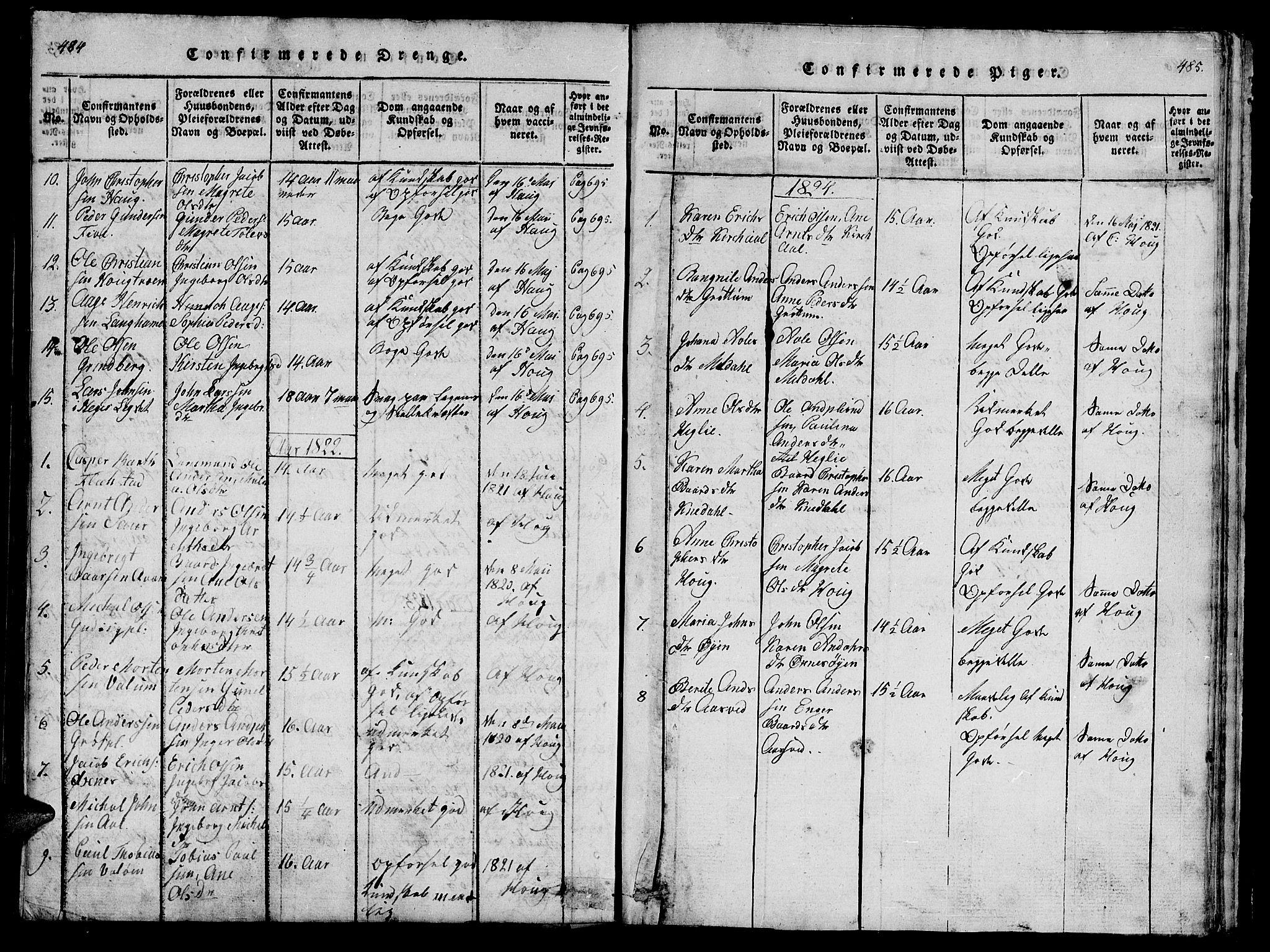 SAT, Ministerialprotokoller, klokkerbøker og fødselsregistre - Nord-Trøndelag, 747/L0459: Klokkerbok nr. 747C01, 1816-1842, s. 484-485