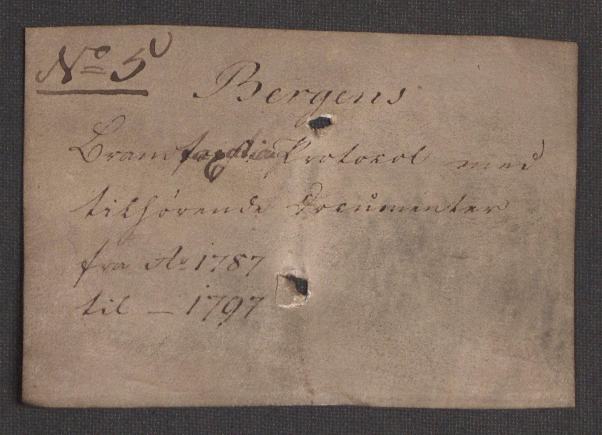 RA, Kommersekollegiet, Brannforsikringskontoret 1767-1814, F/Fa/L0005: Bergen, 1787-1797