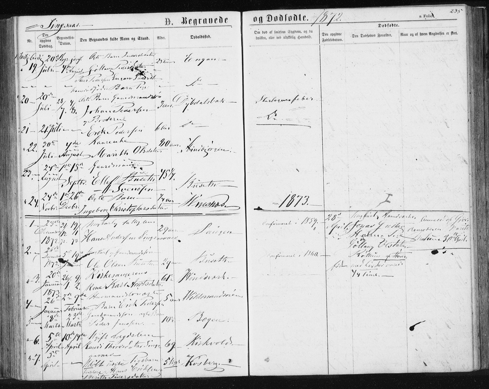 SAT, Ministerialprotokoller, klokkerbøker og fødselsregistre - Sør-Trøndelag, 685/L0970: Ministerialbok nr. 685A08 /2, 1870-1878, s. 235