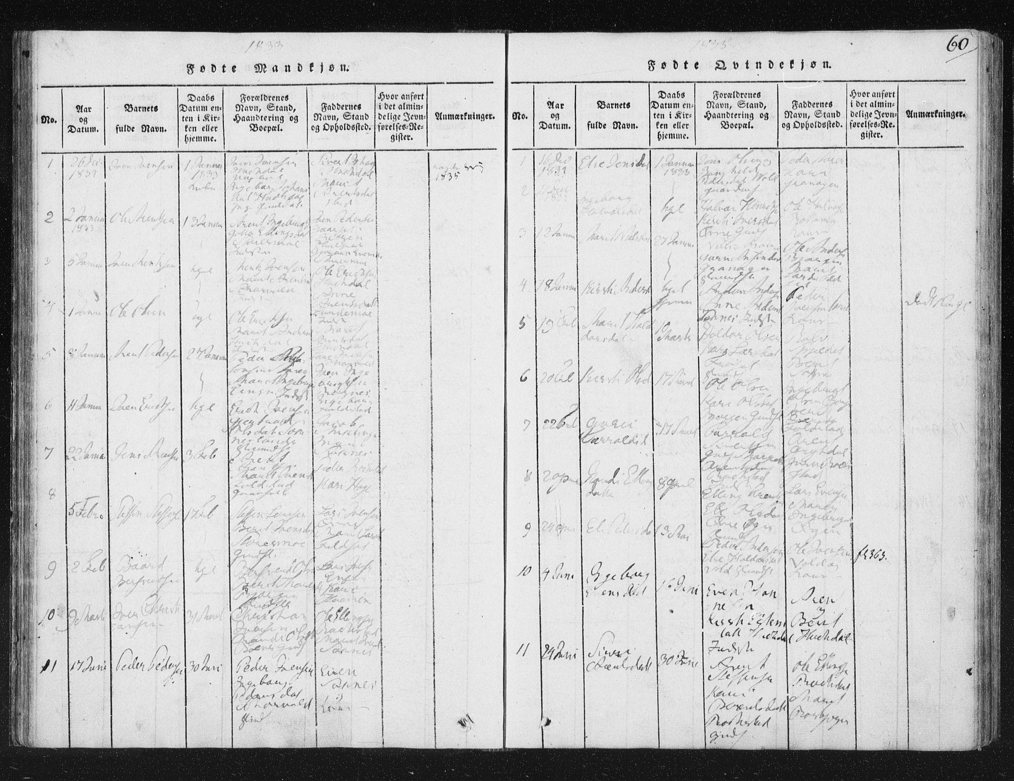 SAT, Ministerialprotokoller, klokkerbøker og fødselsregistre - Sør-Trøndelag, 687/L0996: Ministerialbok nr. 687A04, 1816-1842, s. 60