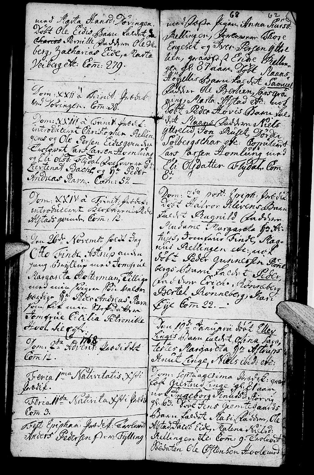 SAT, Ministerialprotokoller, klokkerbøker og fødselsregistre - Møre og Romsdal, 519/L0243: Ministerialbok nr. 519A02, 1760-1770, s. 61-62