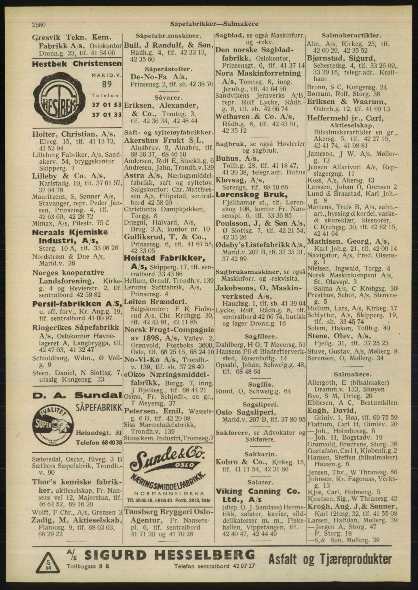 PUBL, Kristiania/Oslo adressebok, 1948, s. 2580
