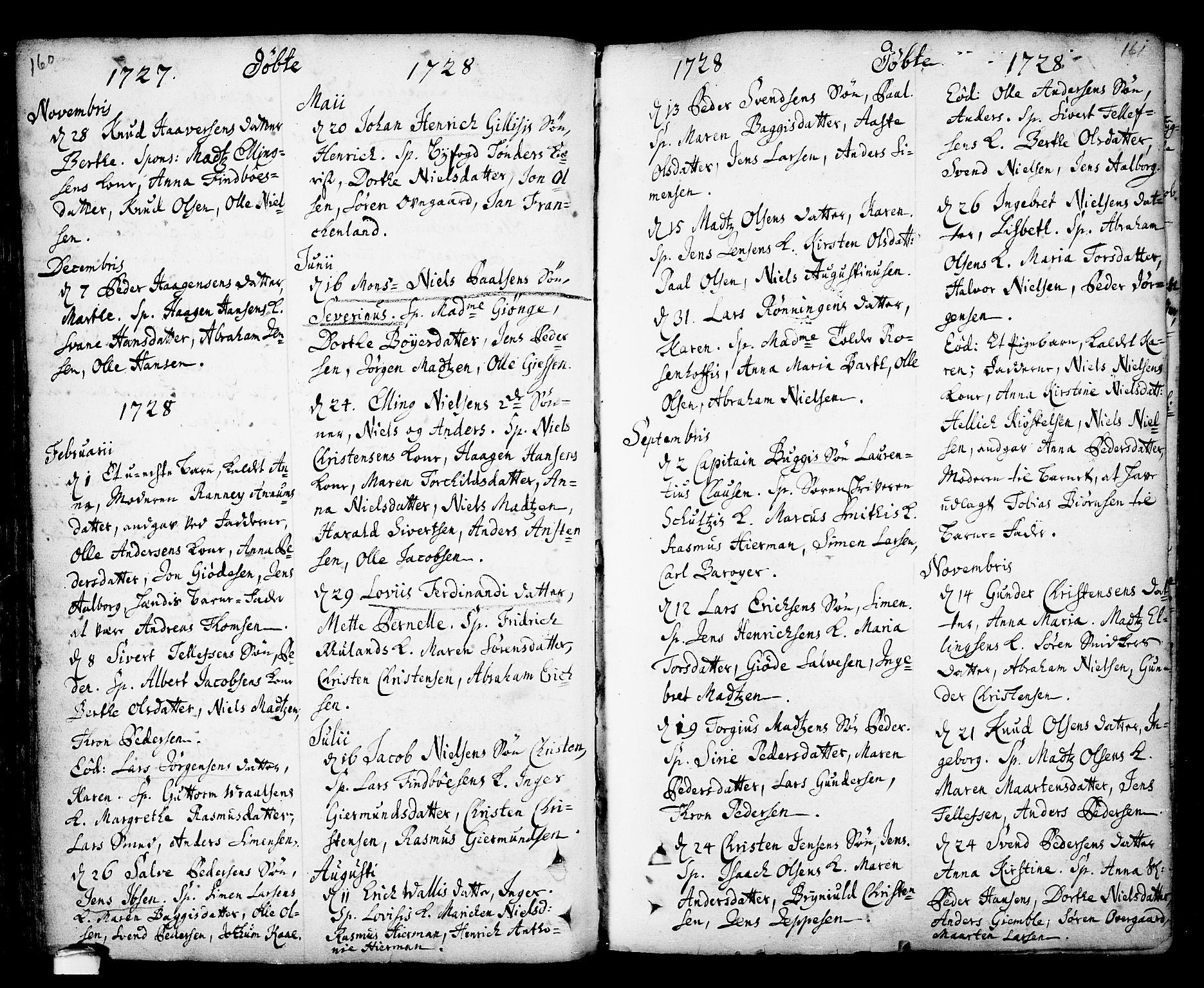 SAKO, Kragerø kirkebøker, F/Fa/L0001: Ministerialbok nr. 1, 1702-1766, s. 160-161