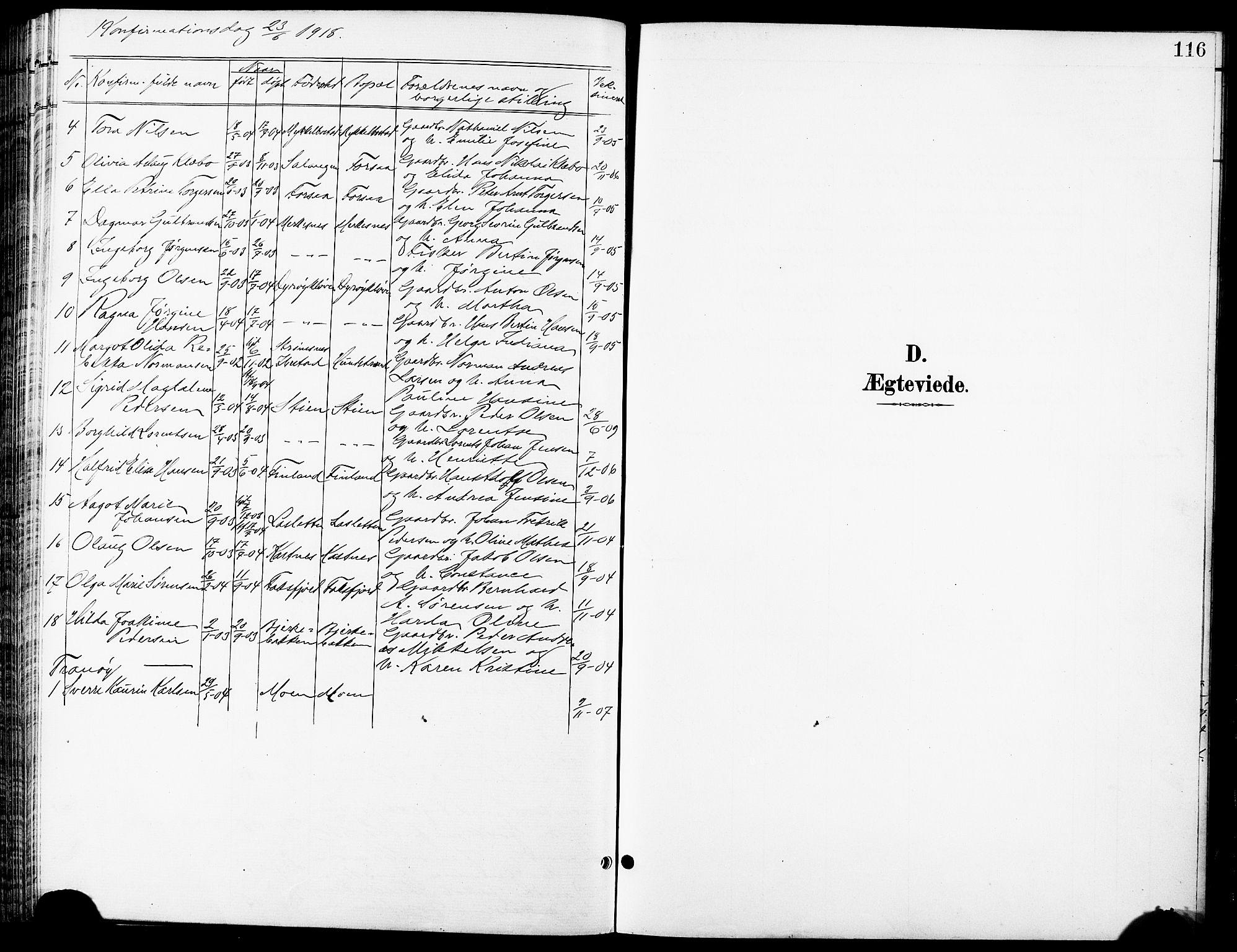 SATØ, Tranøy sokneprestkontor, I/Ia/Iab/L0014klokker: Klokkerbok nr. 14, 1896-1918, s. 116