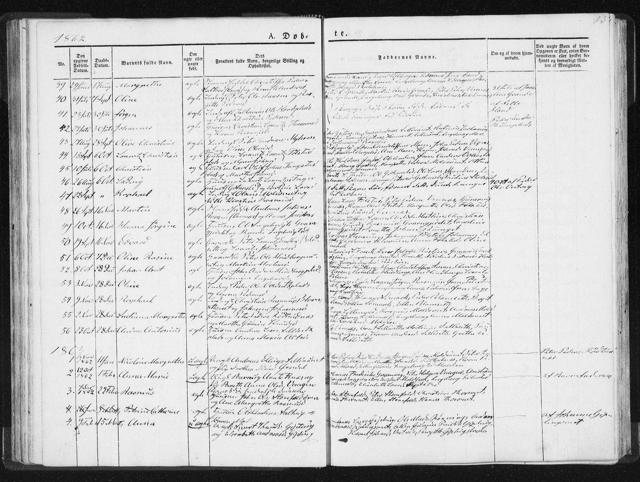 SAT, Ministerialprotokoller, klokkerbøker og fødselsregistre - Nord-Trøndelag, 744/L0418: Ministerialbok nr. 744A02, 1843-1866, s. 83