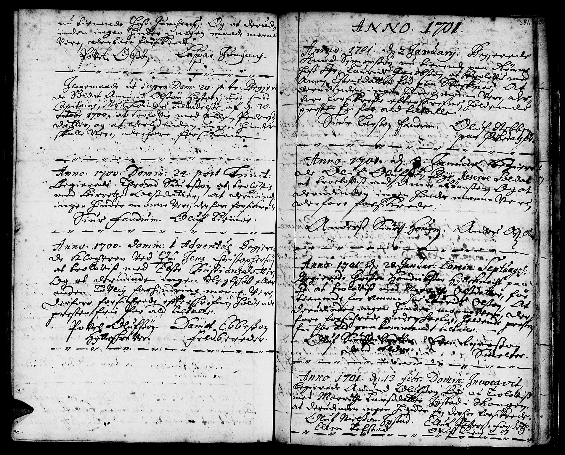 SAT, Ministerialprotokoller, klokkerbøker og fødselsregistre - Sør-Trøndelag, 668/L0801: Ministerialbok nr. 668A01, 1695-1716, s. 340-341