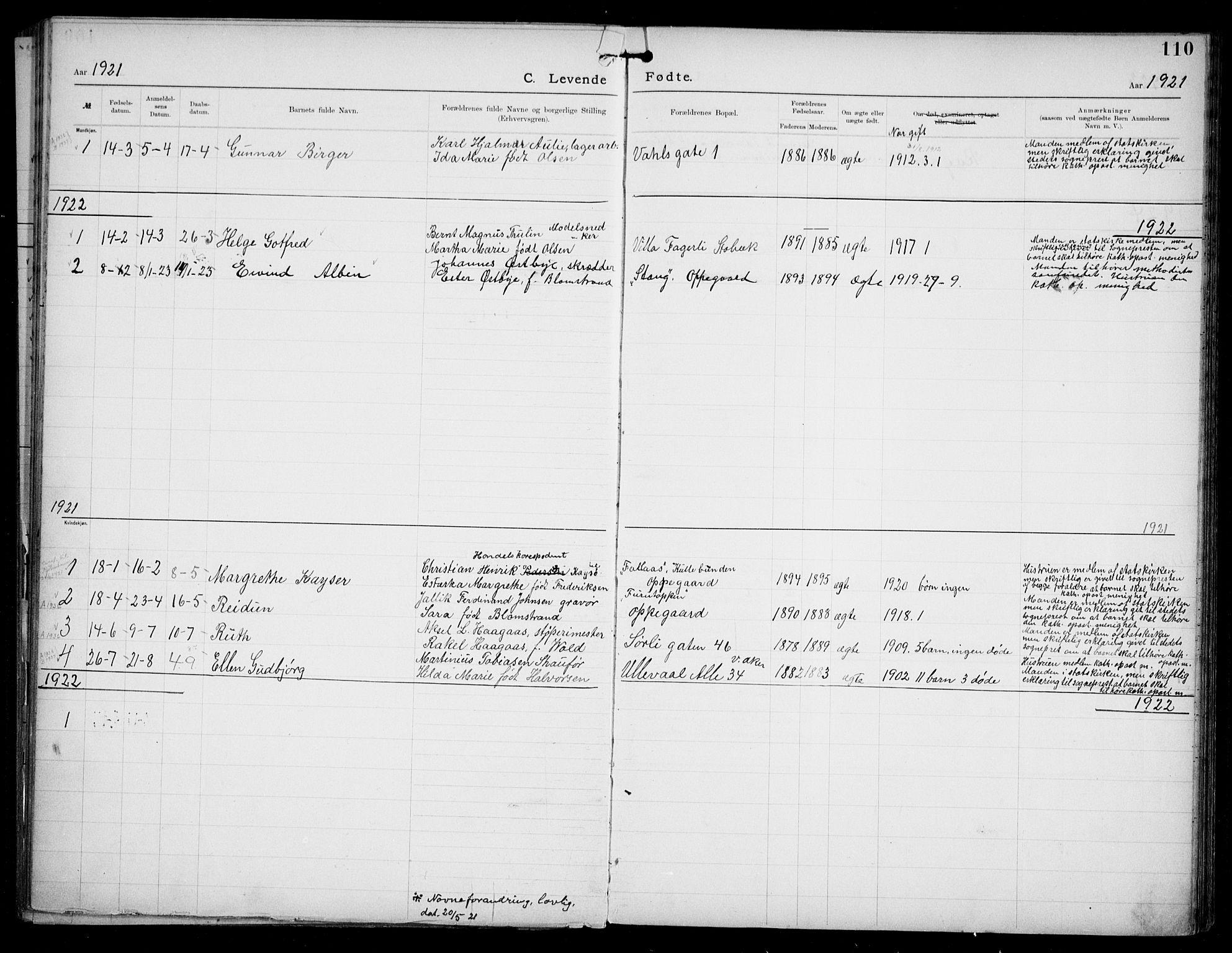 SAO, Den katolsk apostoliske menighet i Oslo , F/Fa/L0002: Dissenterprotokoll nr. 2, 1892-1937, s. 110
