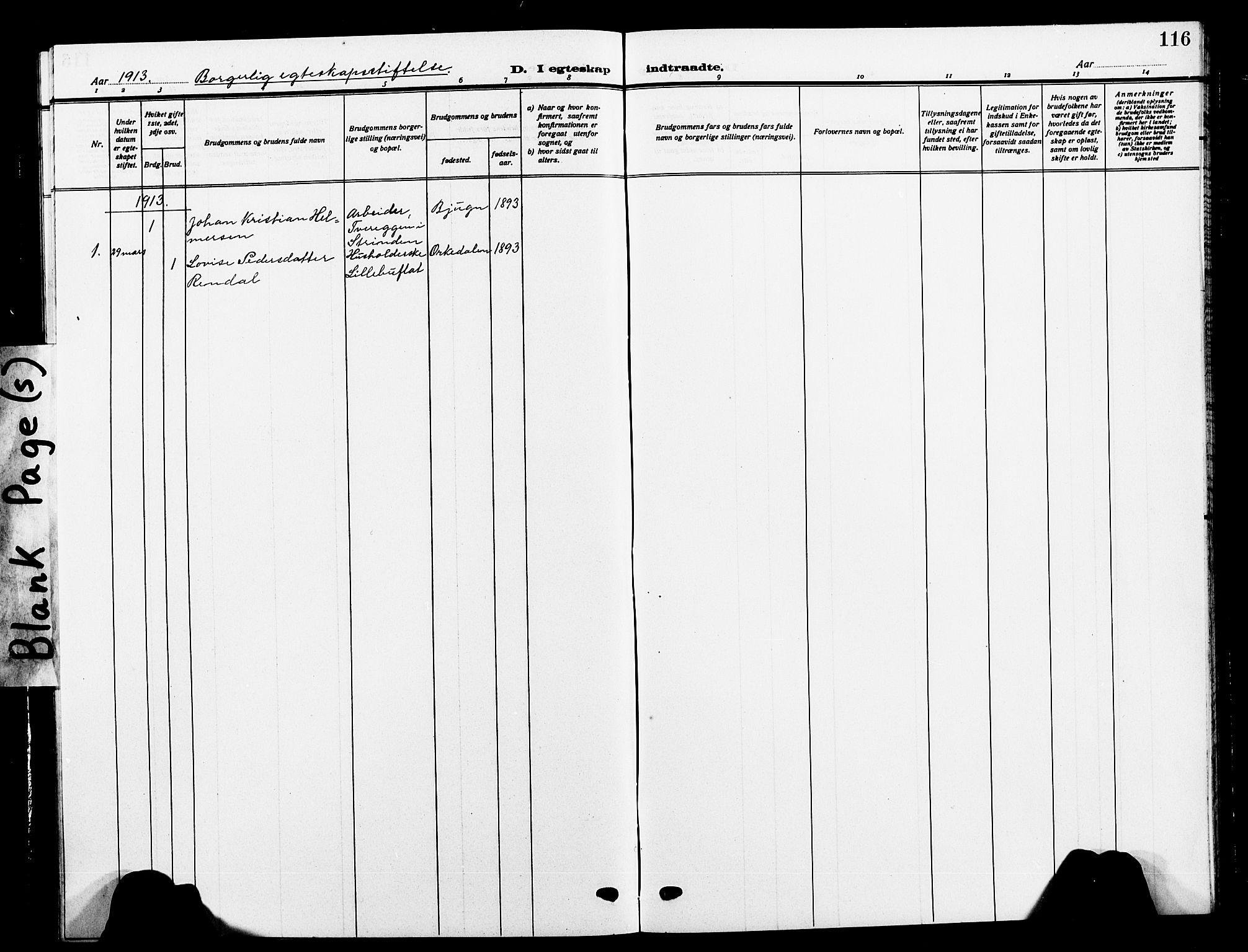 SAT, Ministerialprotokoller, klokkerbøker og fødselsregistre - Sør-Trøndelag, 618/L0453: Klokkerbok nr. 618C04, 1907-1925, s. 116