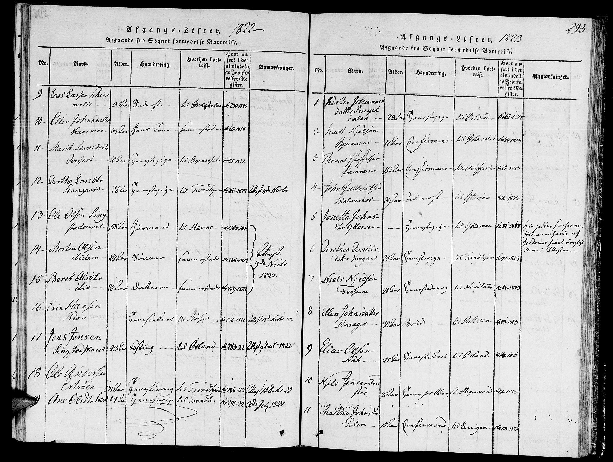 SAT, Ministerialprotokoller, klokkerbøker og fødselsregistre - Sør-Trøndelag, 646/L0608: Ministerialbok nr. 646A06, 1816-1825, s. 293
