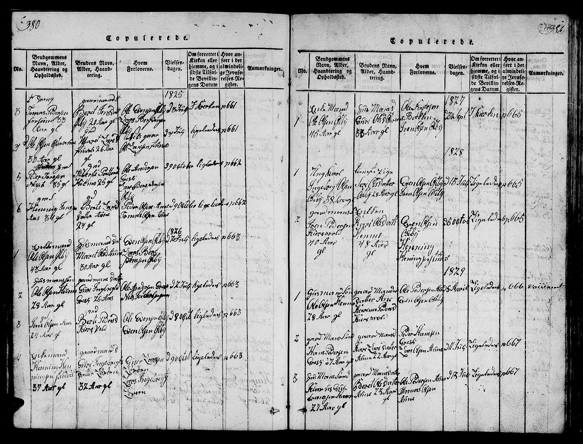 SAT, Ministerialprotokoller, klokkerbøker og fødselsregistre - Sør-Trøndelag, 698/L1164: Klokkerbok nr. 698C01, 1816-1861, s. 380-381
