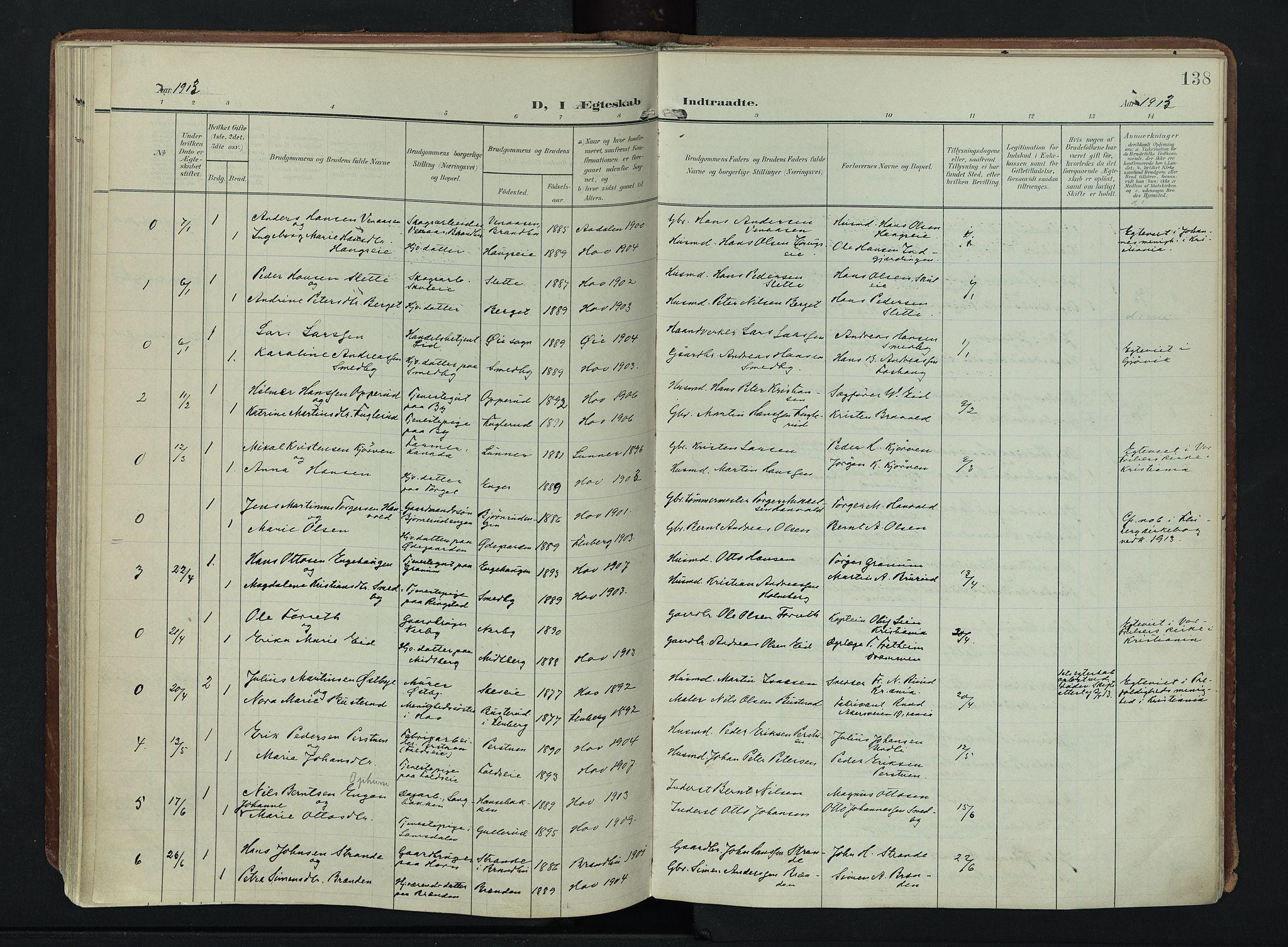 SAH, Søndre Land prestekontor, K/L0007: Ministerialbok nr. 7, 1905-1914, s. 138