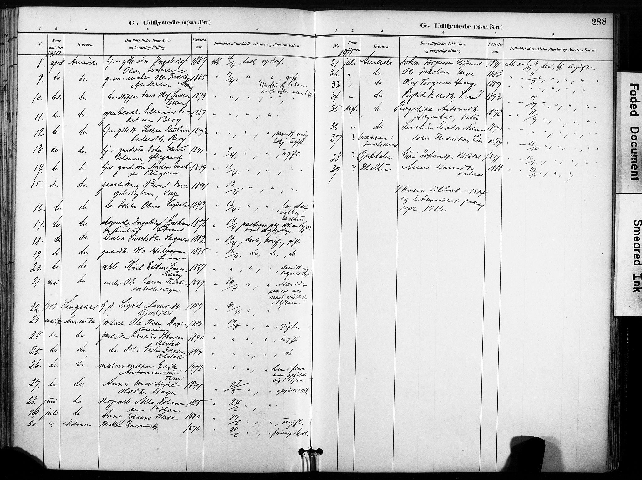 SAT, Ministerialprotokoller, klokkerbøker og fødselsregistre - Sør-Trøndelag, 630/L0497: Ministerialbok nr. 630A10, 1896-1910, s. 288