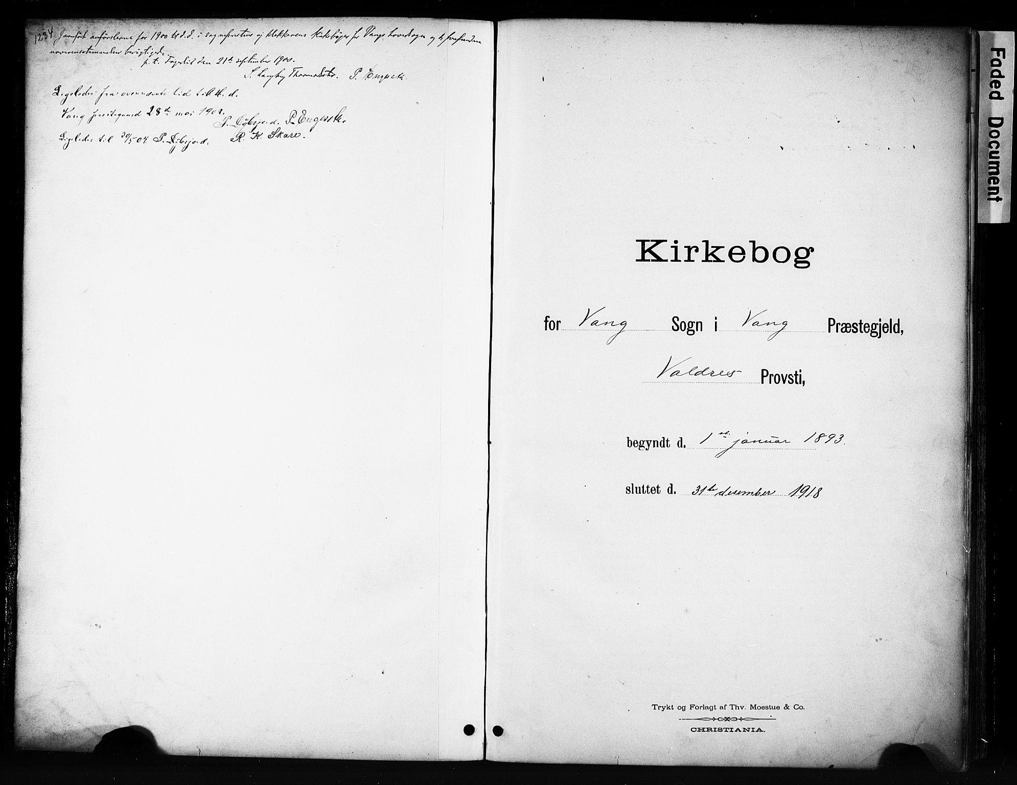 SAH, Vang prestekontor, Valdres, Klokkerbok nr. 6, 1893-1918