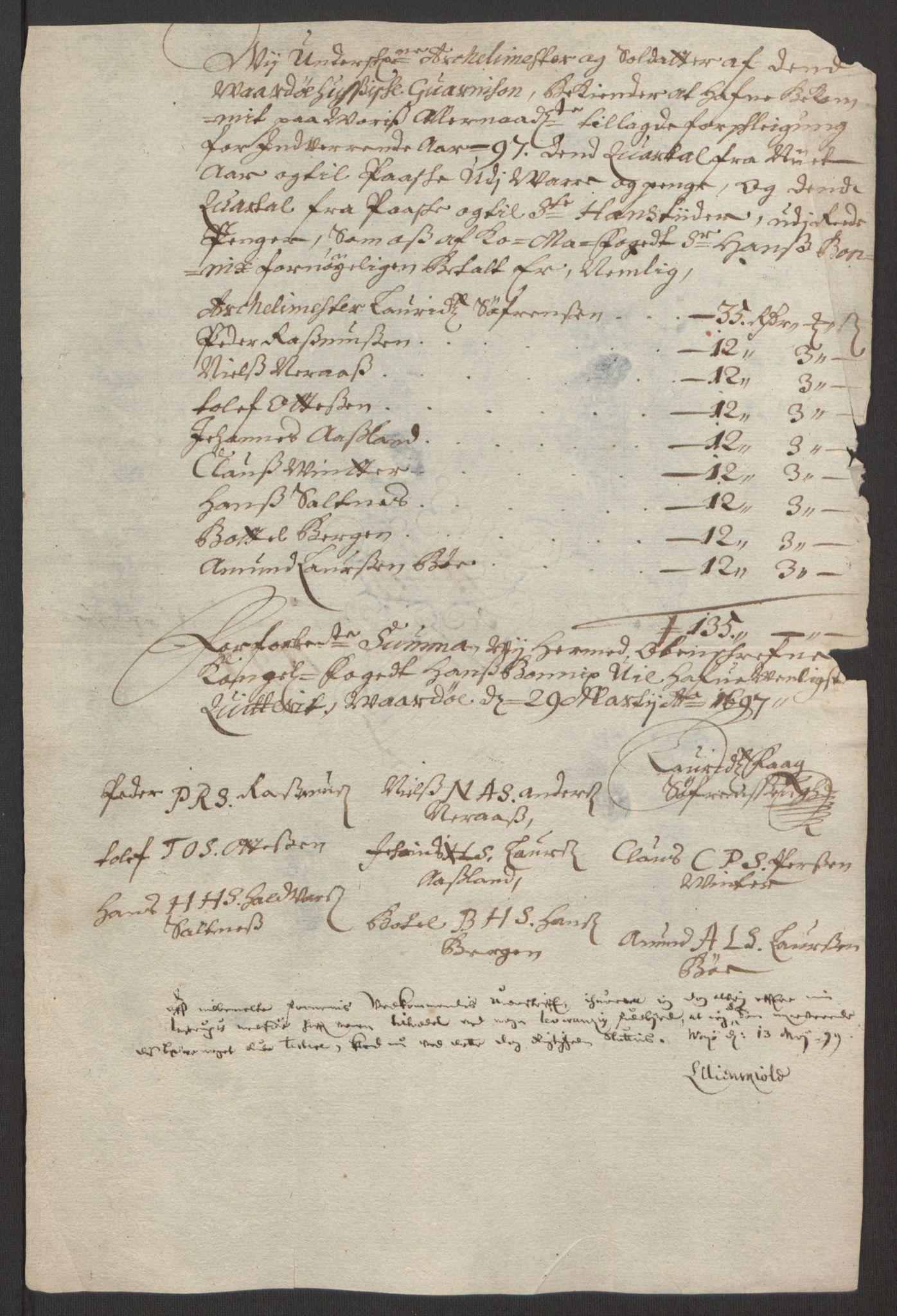 RA, Rentekammeret inntil 1814, Reviderte regnskaper, Fogderegnskap, R69/L4851: Fogderegnskap Finnmark/Vardøhus, 1691-1700, s. 342