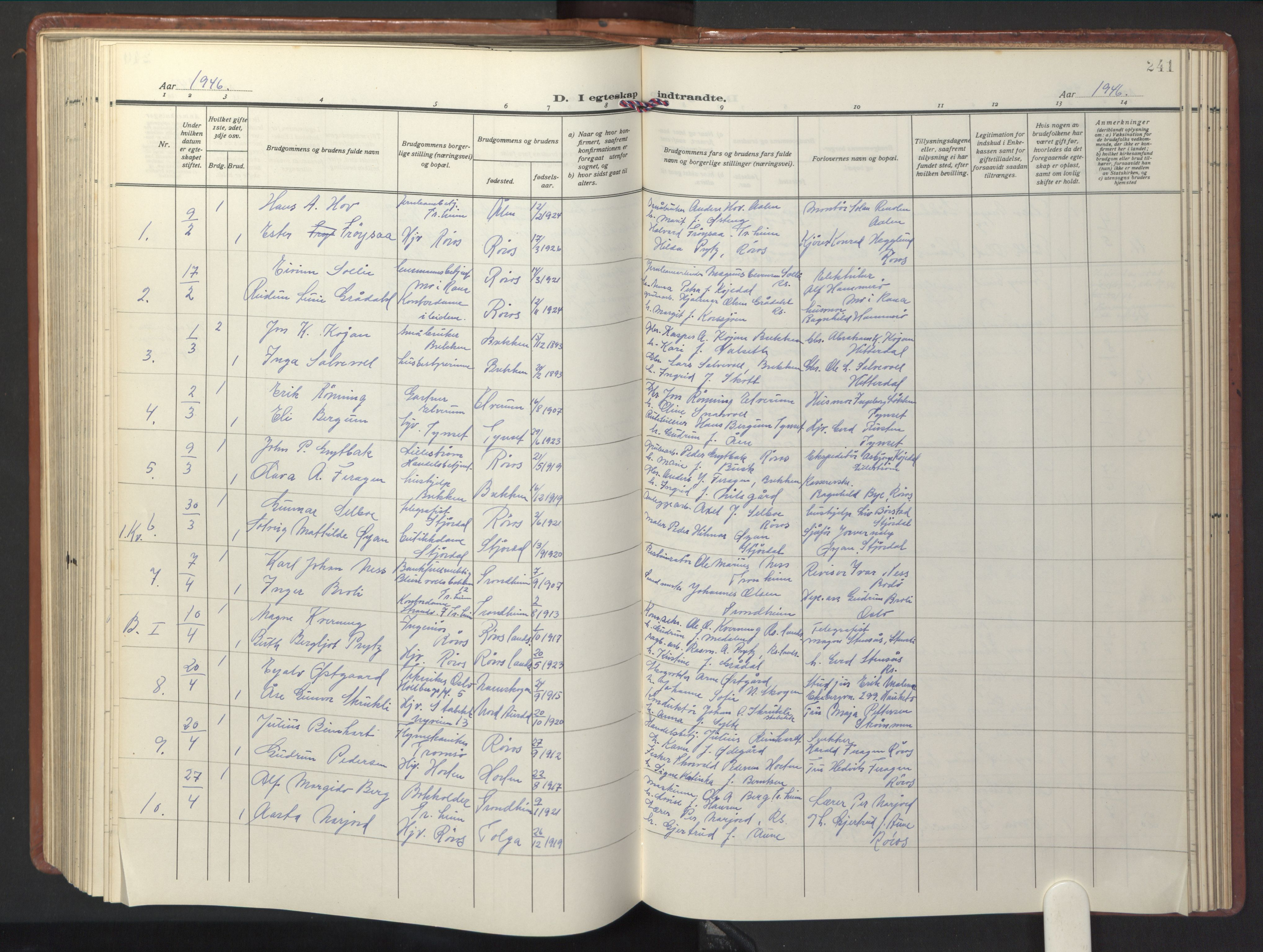 SAT, Ministerialprotokoller, klokkerbøker og fødselsregistre - Sør-Trøndelag, 681/L0943: Klokkerbok nr. 681C07, 1926-1954, s. 241