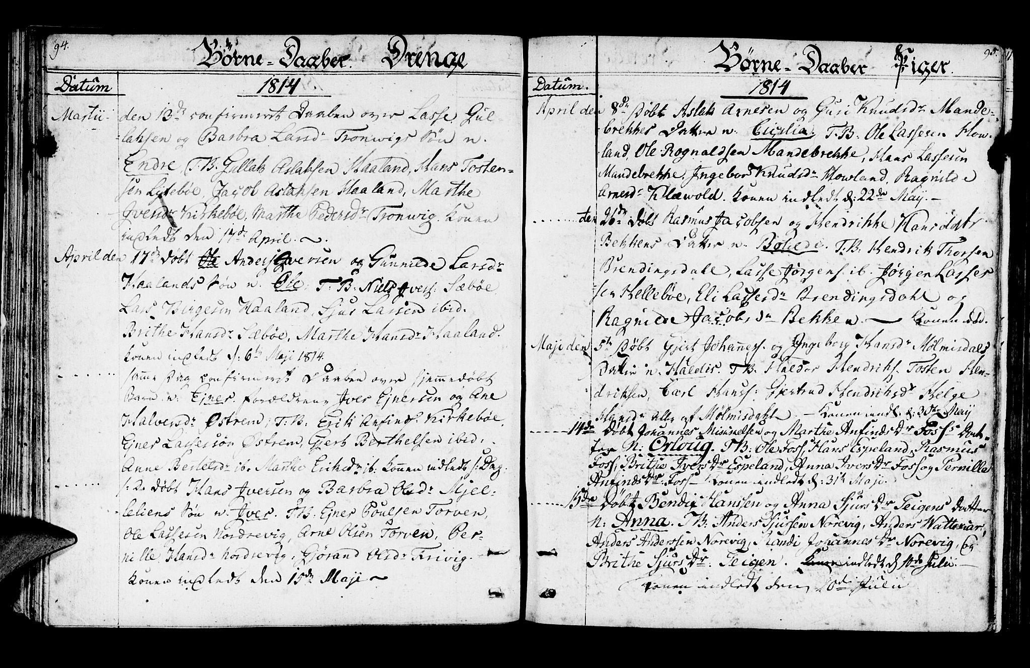 SAB, Lavik Sokneprestembete, Ministerialbok nr. A 1, 1809-1822, s. 94-95