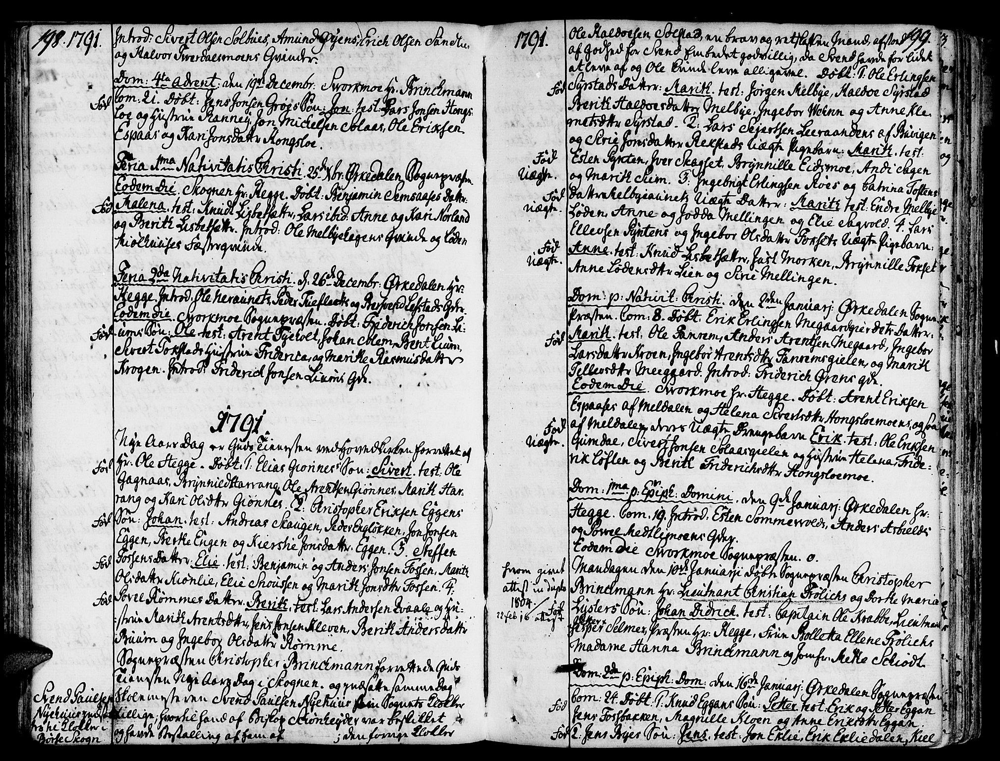 SAT, Ministerialprotokoller, klokkerbøker og fødselsregistre - Sør-Trøndelag, 668/L0802: Ministerialbok nr. 668A02, 1776-1799, s. 198-199