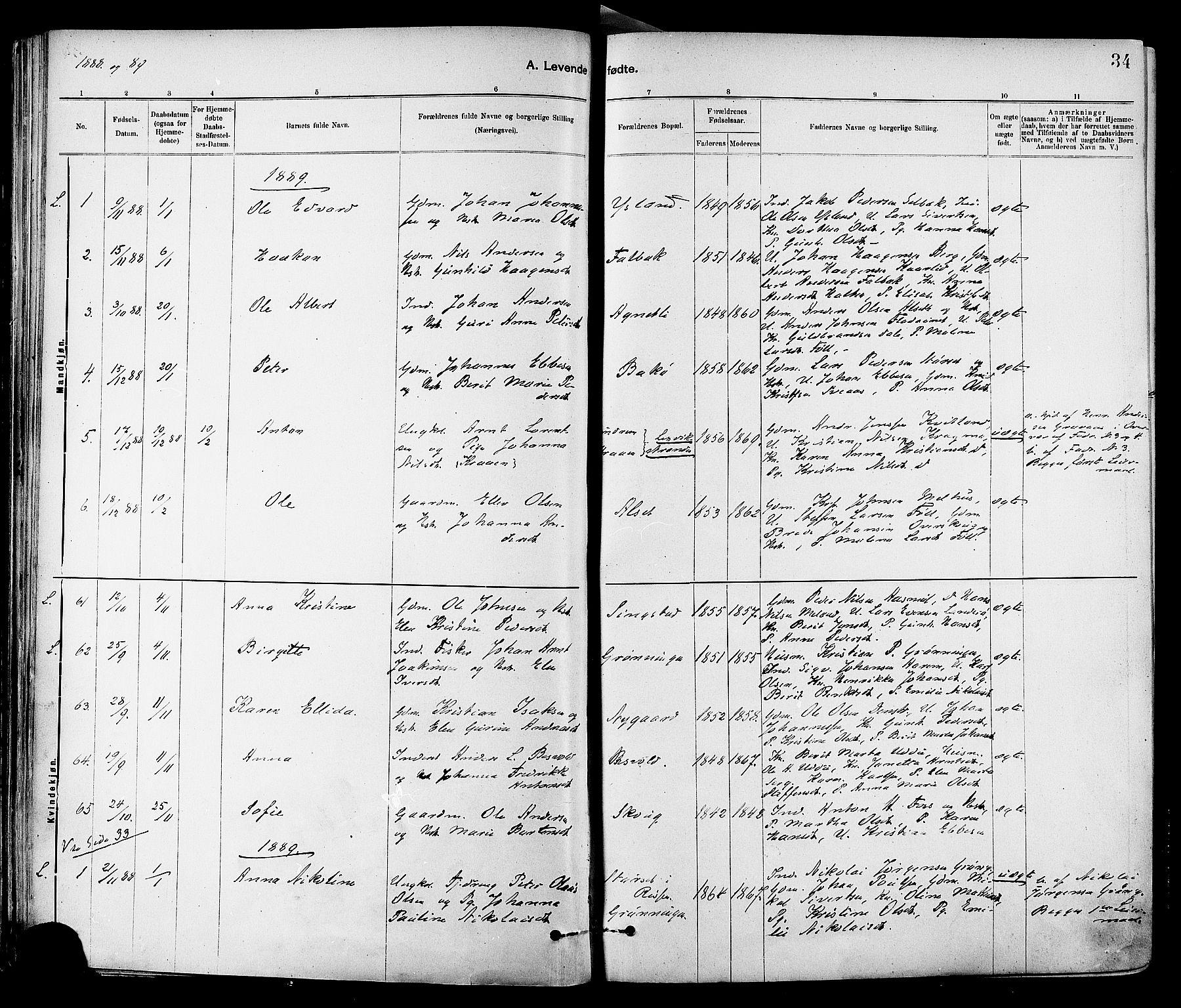 SAT, Ministerialprotokoller, klokkerbøker og fødselsregistre - Sør-Trøndelag, 647/L0634: Ministerialbok nr. 647A01, 1885-1896, s. 34