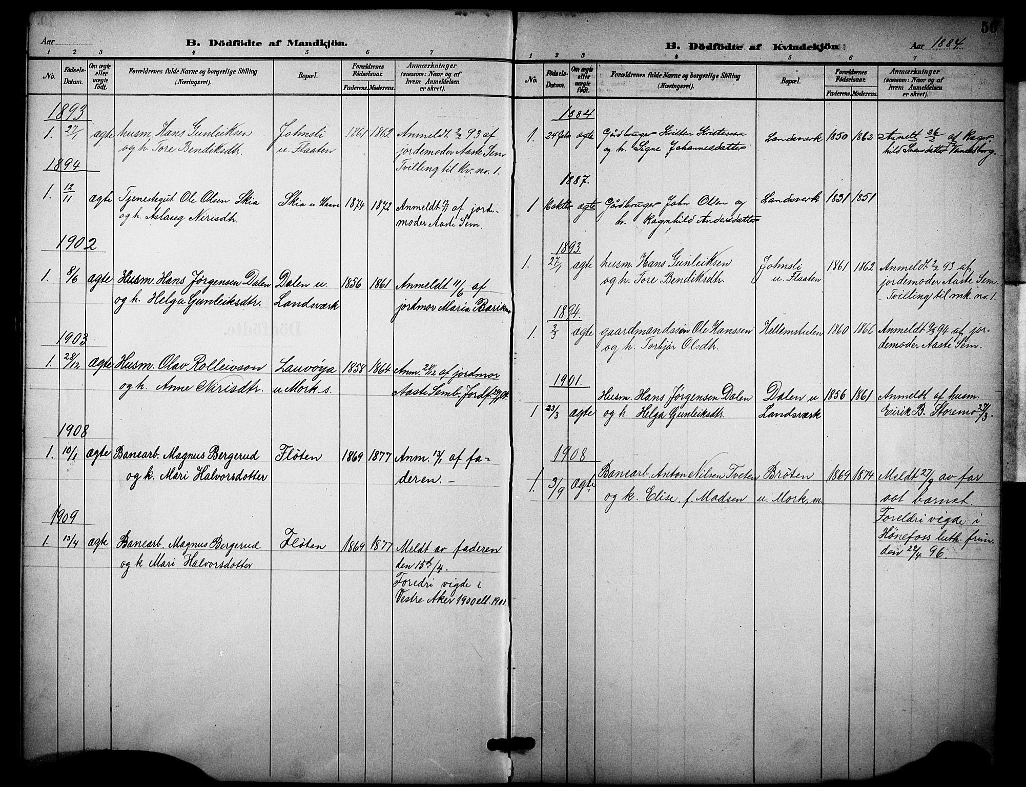 SAKO, Heddal kirkebøker, F/Fb/L0001: Ministerialbok nr. II 1, 1884-1910, s. 50