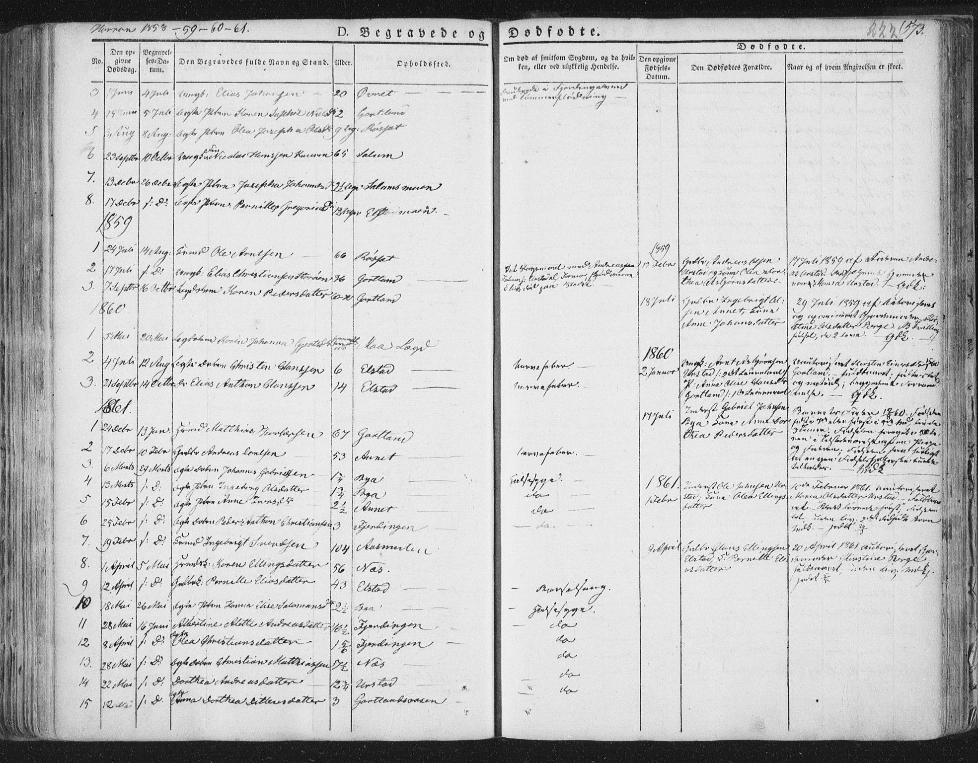 SAT, Ministerialprotokoller, klokkerbøker og fødselsregistre - Nord-Trøndelag, 758/L0513: Ministerialbok nr. 758A02 /3, 1839-1868, s. 222