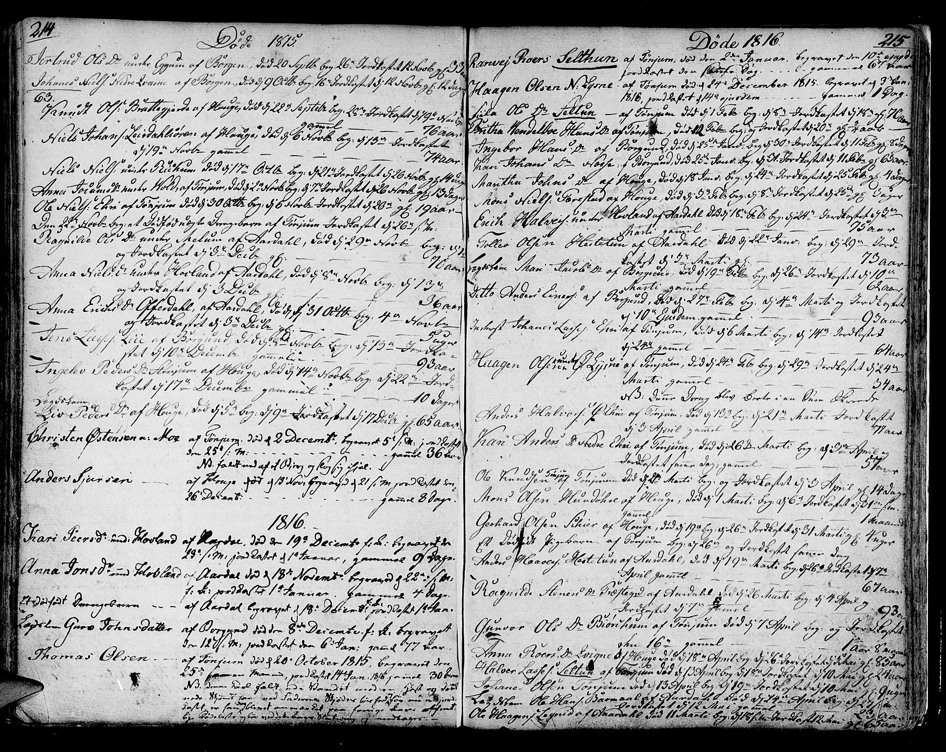 SAB, Lærdal sokneprestembete, Ministerialbok nr. A 4, 1805-1821, s. 214-215