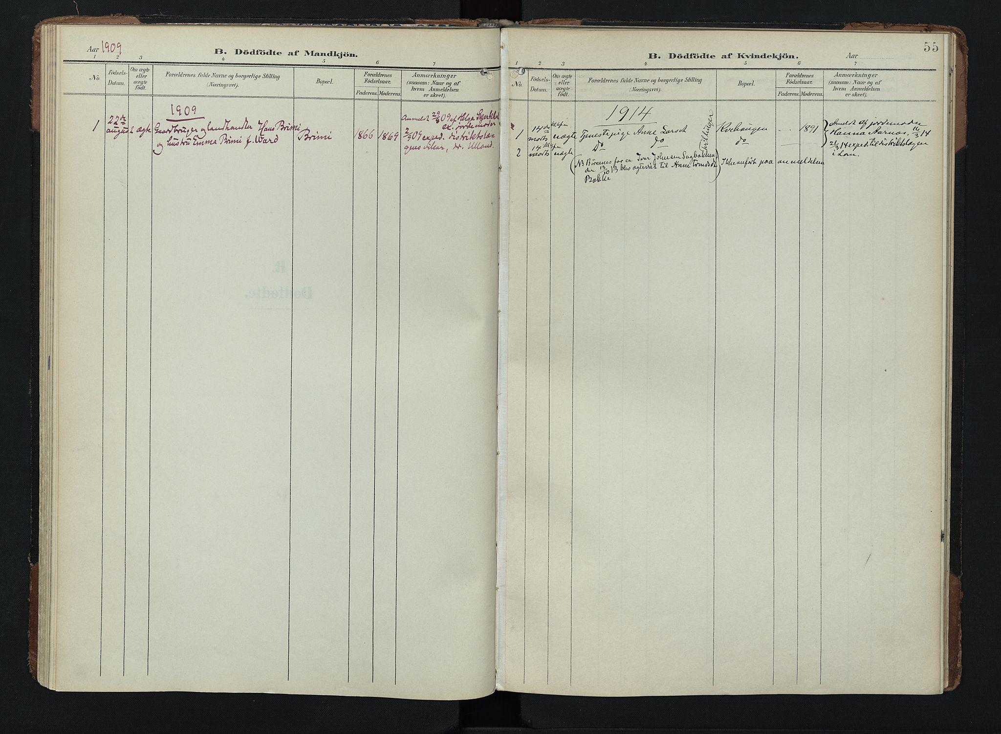 SAH, Lom prestekontor, K/L0011: Ministerialbok nr. 11, 1904-1928, s. 55