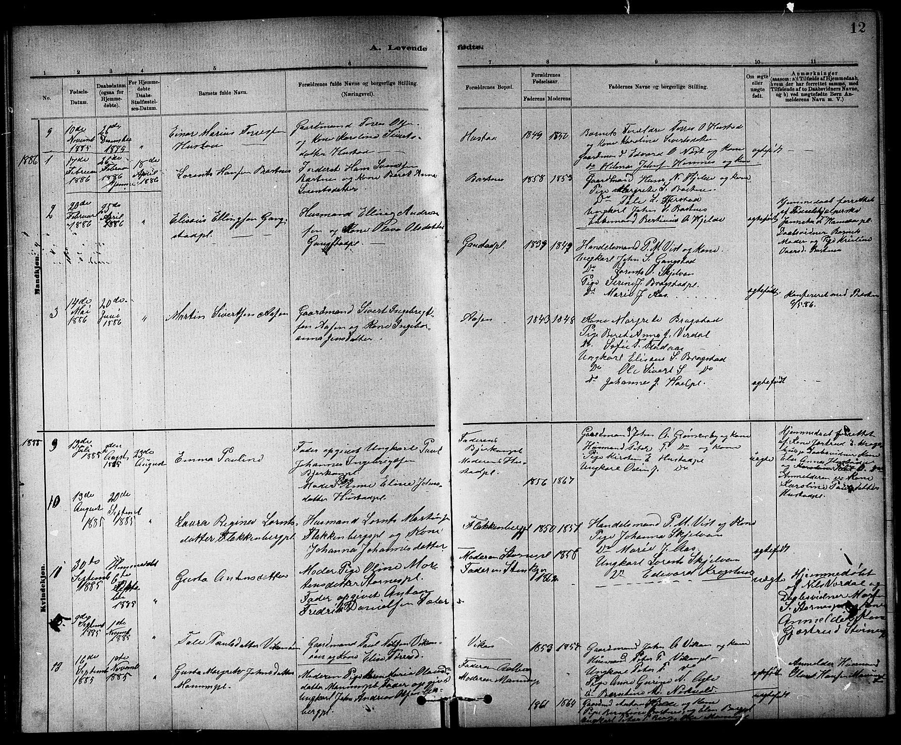 SAT, Ministerialprotokoller, klokkerbøker og fødselsregistre - Nord-Trøndelag, 732/L0318: Klokkerbok nr. 732C02, 1881-1911, s. 12