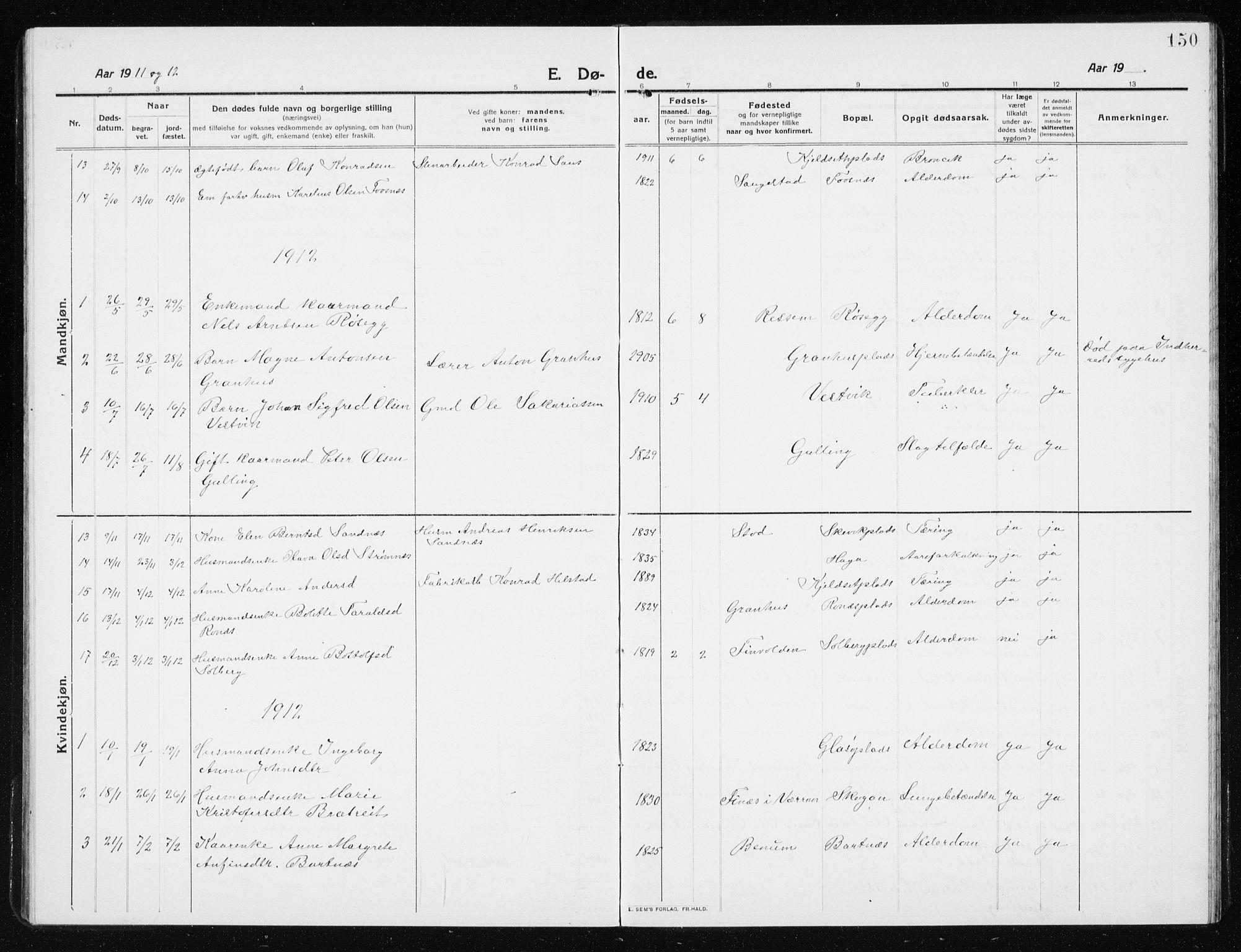 SAT, Ministerialprotokoller, klokkerbøker og fødselsregistre - Nord-Trøndelag, 741/L0402: Klokkerbok nr. 741C03, 1911-1926, s. 150