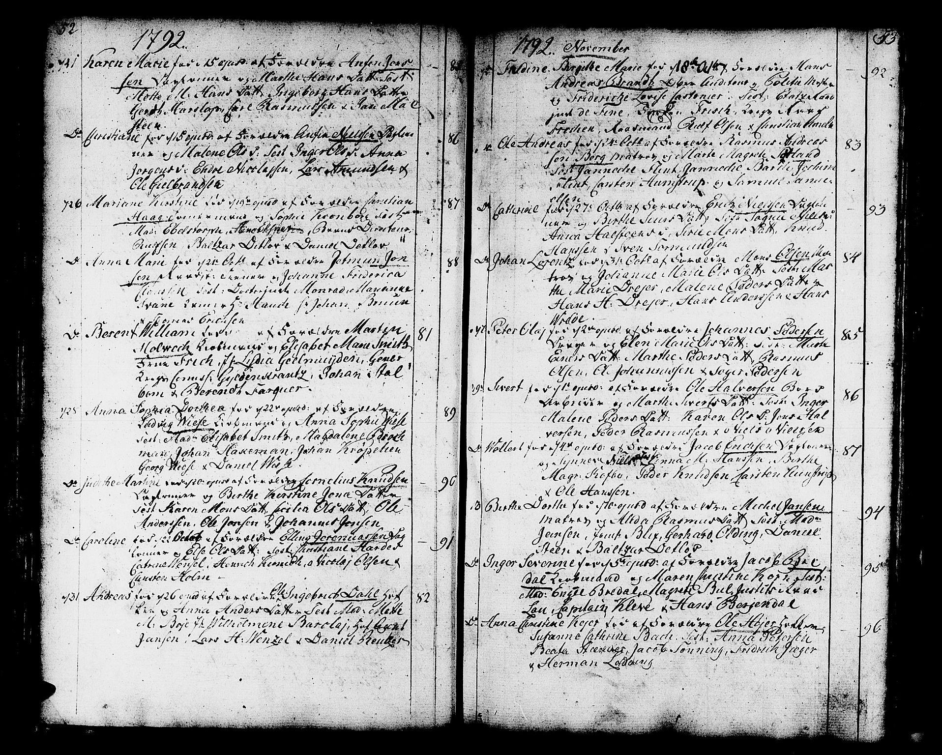 SAB, Domkirken sokneprestembete, H/Haa/L0004: Ministerialbok nr. A 4, 1763-1820, s. 52-53