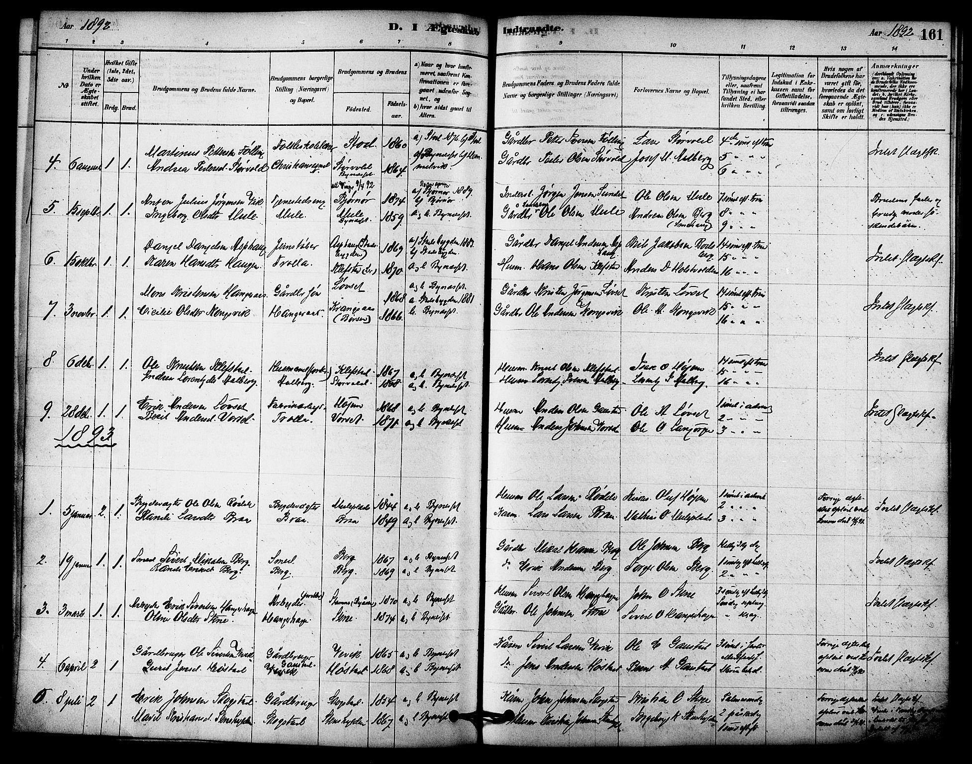 SAT, Ministerialprotokoller, klokkerbøker og fødselsregistre - Sør-Trøndelag, 612/L0378: Ministerialbok nr. 612A10, 1878-1897, s. 161