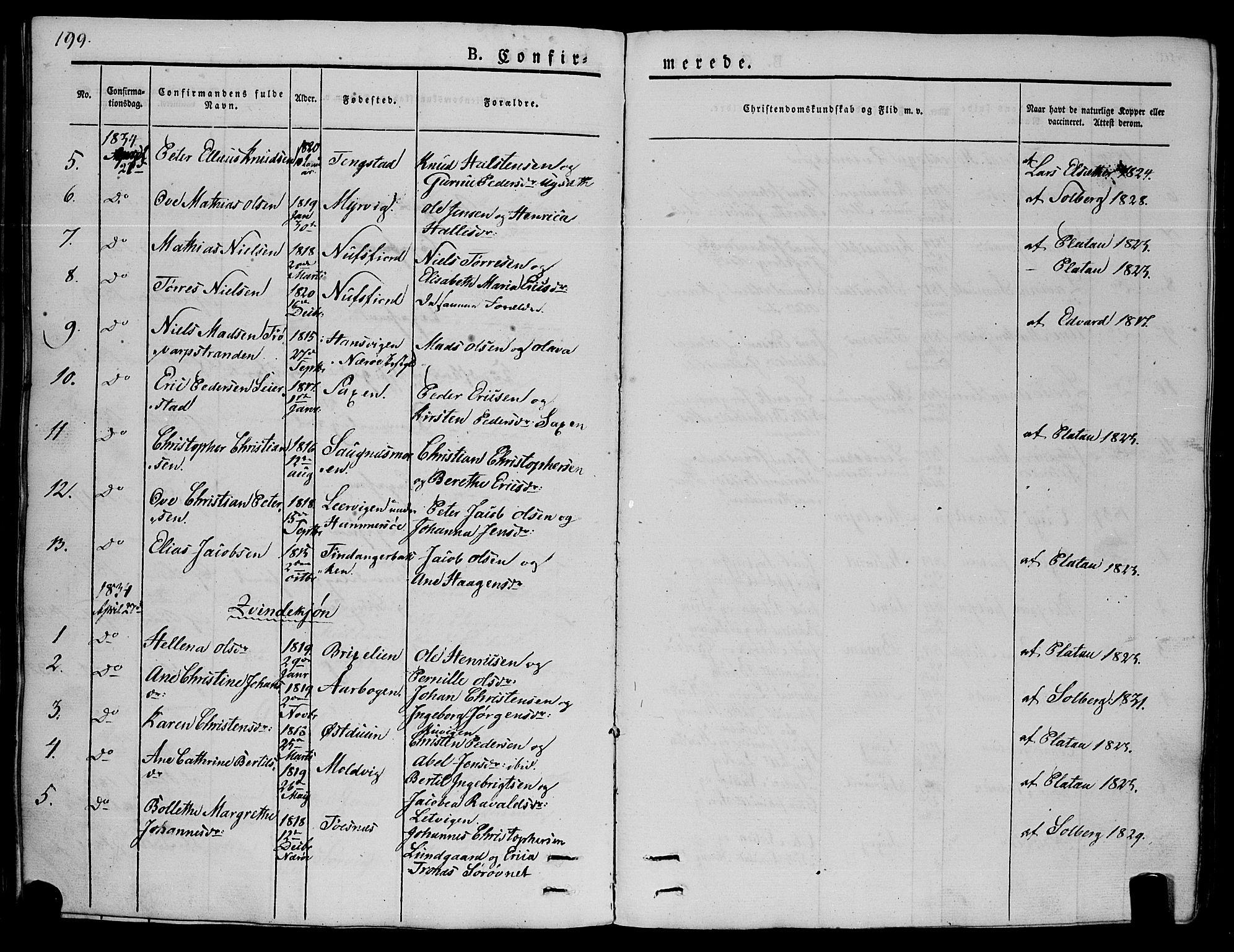 SAT, Ministerialprotokoller, klokkerbøker og fødselsregistre - Nord-Trøndelag, 773/L0614: Ministerialbok nr. 773A05, 1831-1856, s. 199