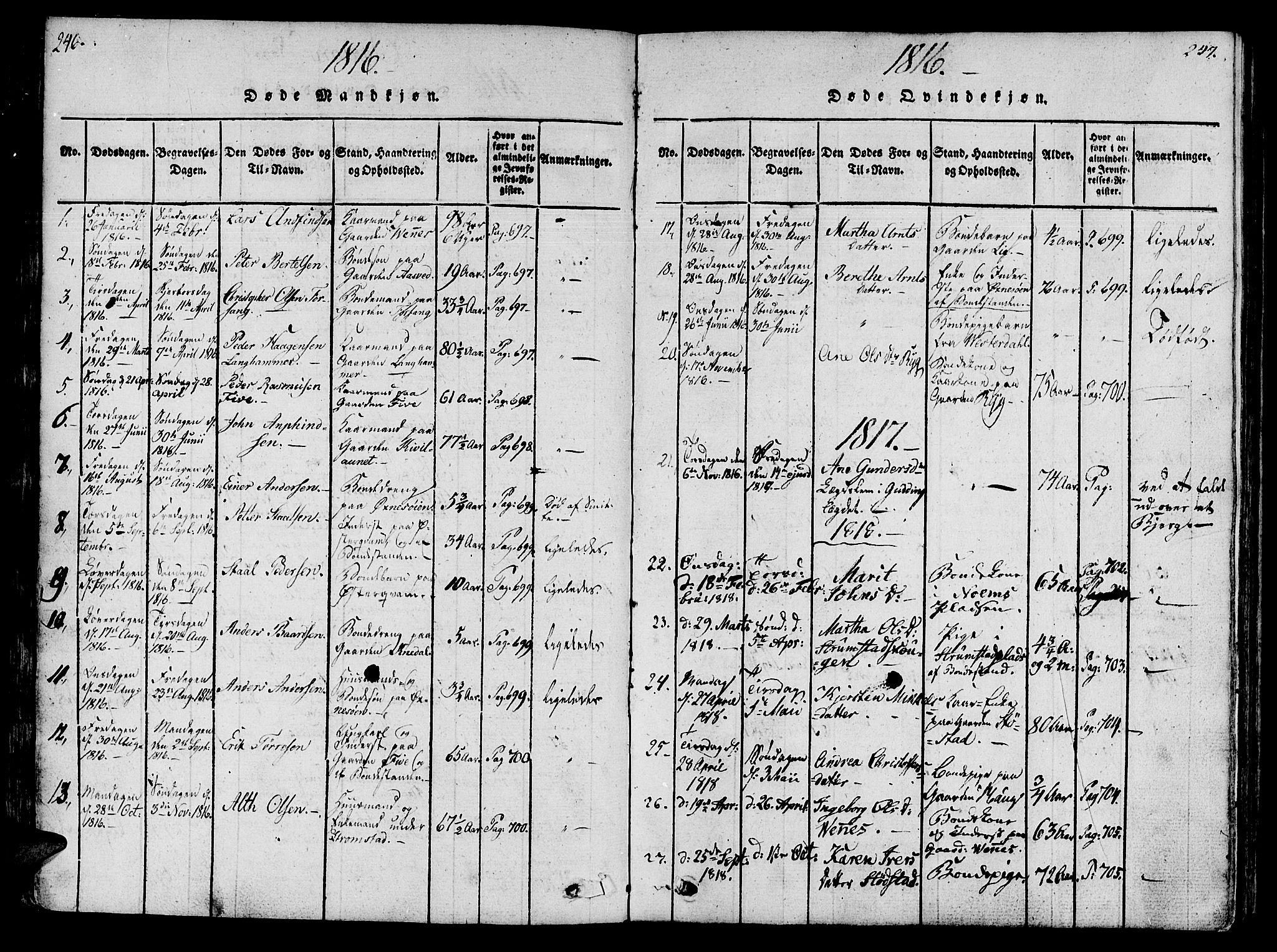 SAT, Ministerialprotokoller, klokkerbøker og fødselsregistre - Nord-Trøndelag, 746/L0441: Ministerialbok nr. 746A03 /2, 1816-1827, s. 146-147