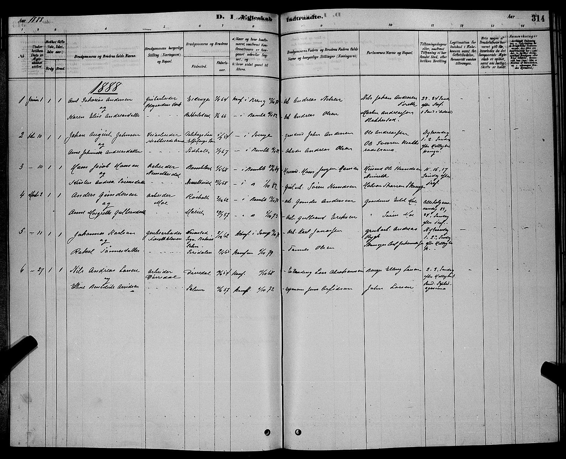 SAKO, Bamble kirkebøker, G/Ga/L0008: Klokkerbok nr. I 8, 1878-1888, s. 314