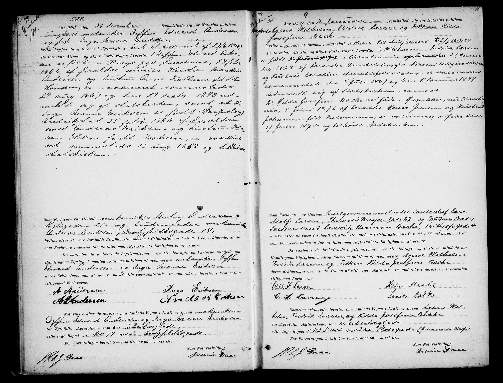 SAO, Oslo byfogd avd. I, L/Lb/Lbb/L0002: Notarialprotokoll, rekke II: Vigsler, 1893-1897, s. 10b-11a