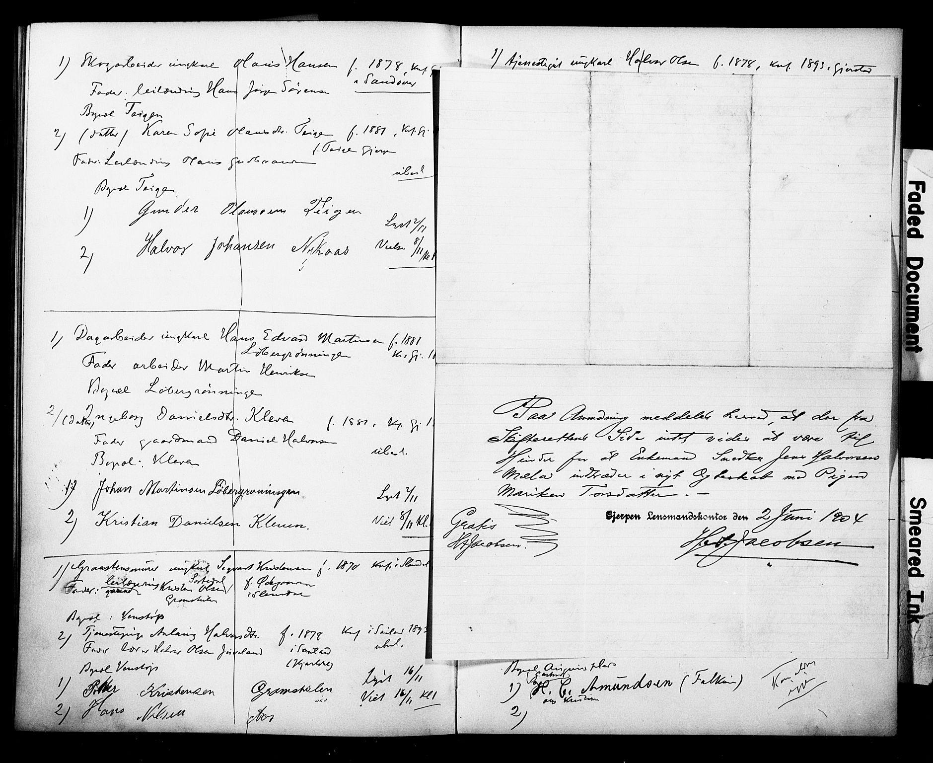 SAKO, Gjerpen kirkebøker, H/Ha/L0001: Lysningsprotokoll nr. I 1, 1896-1908