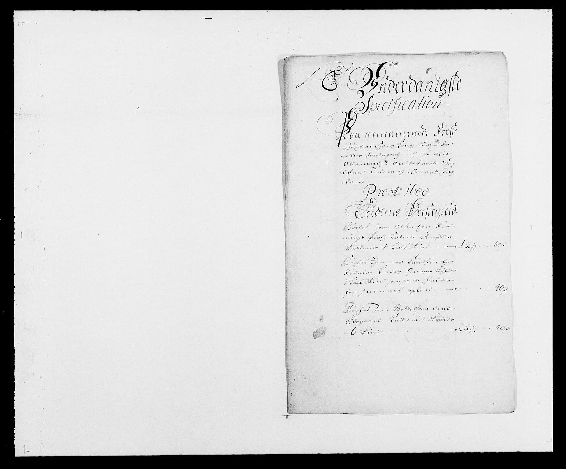 RA, Rentekammeret inntil 1814, Reviderte regnskaper, Fogderegnskap, R18/L1287: Fogderegnskap Hadeland, Toten og Valdres, 1688, s. 204