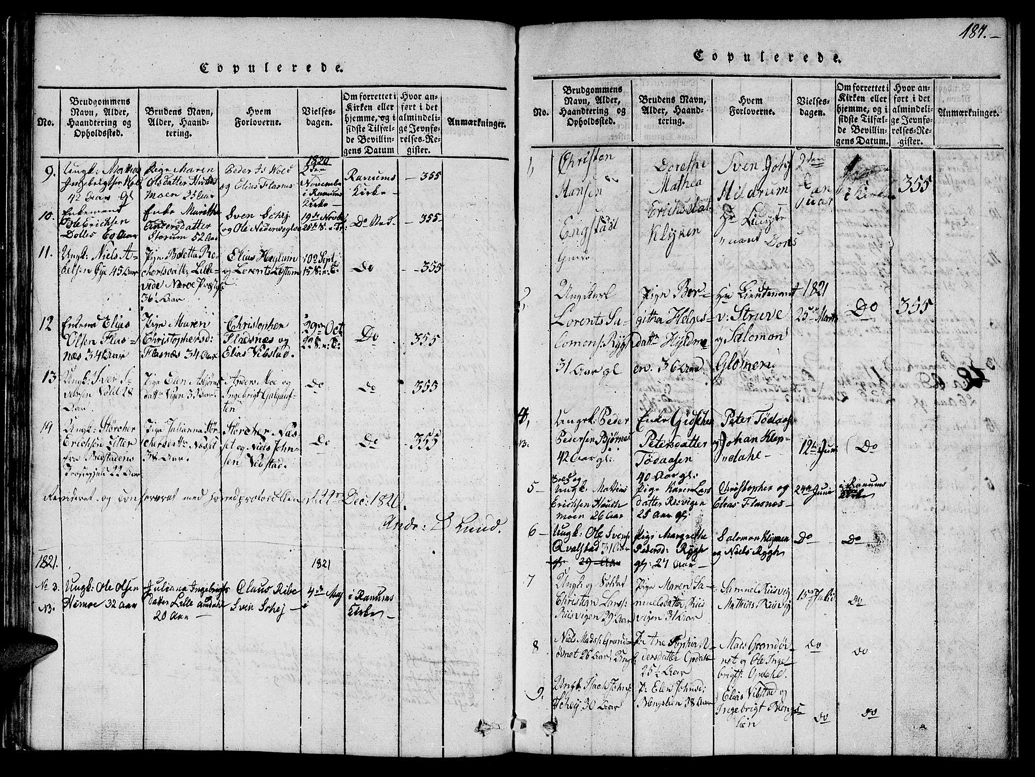 SAT, Ministerialprotokoller, klokkerbøker og fødselsregistre - Nord-Trøndelag, 764/L0559: Klokkerbok nr. 764C01, 1816-1824, s. 187