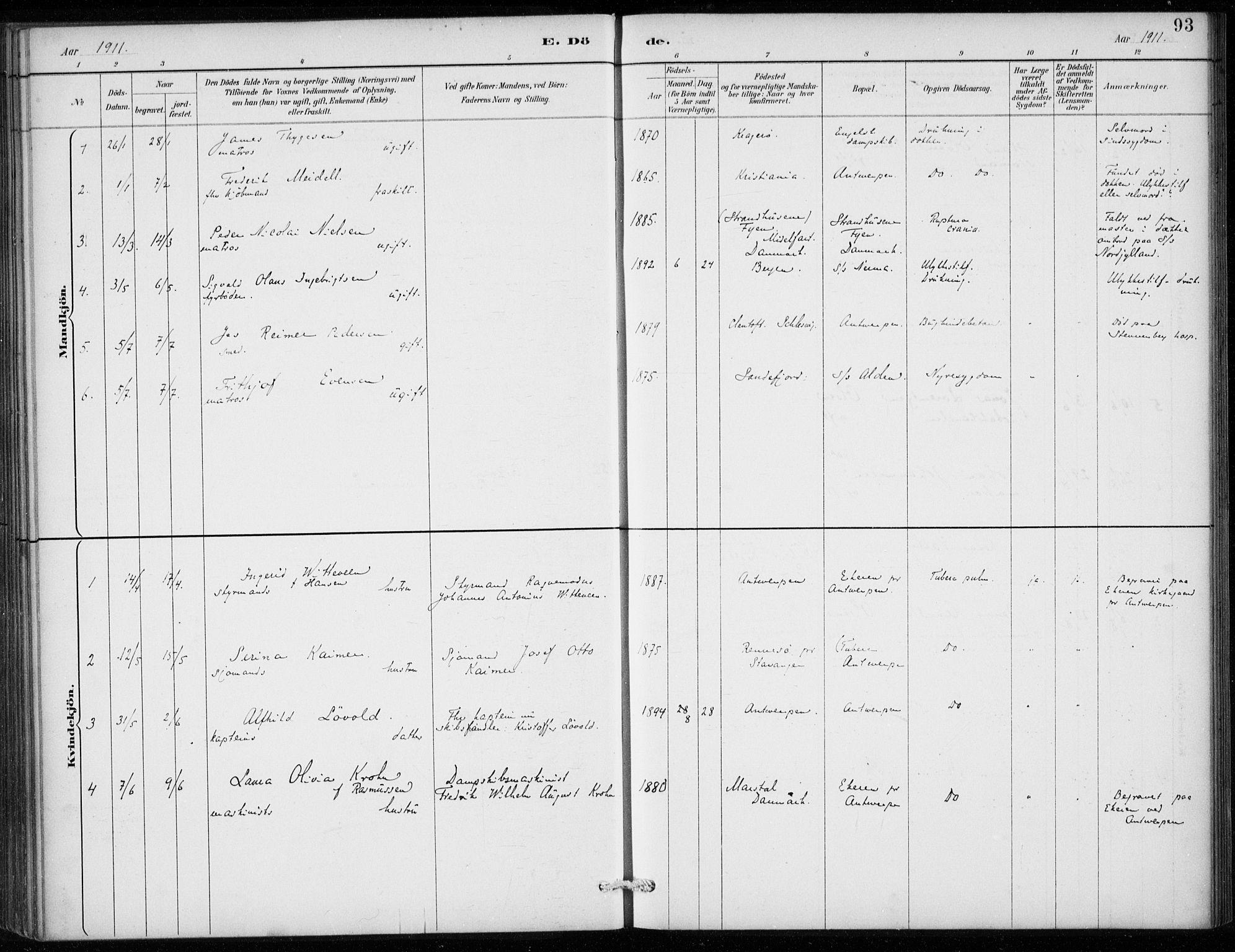 SAB, Den Norske Sjømannsmisjon i utlandet*, Ministerialbok nr. A 2, 1887-1913, s. 93