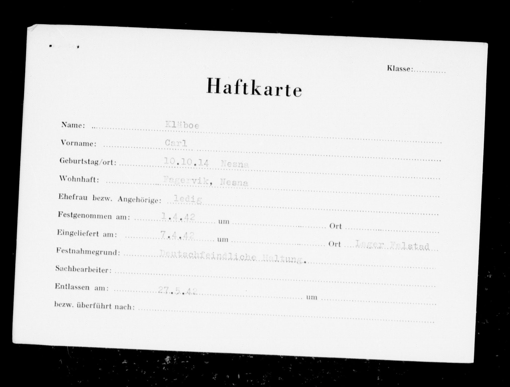 RA, Befehlshaber der Sicherheitspolizei und des SD, F/Fc/L0007: Fangeregister Falstad: Kl - Lind, 1941-1945