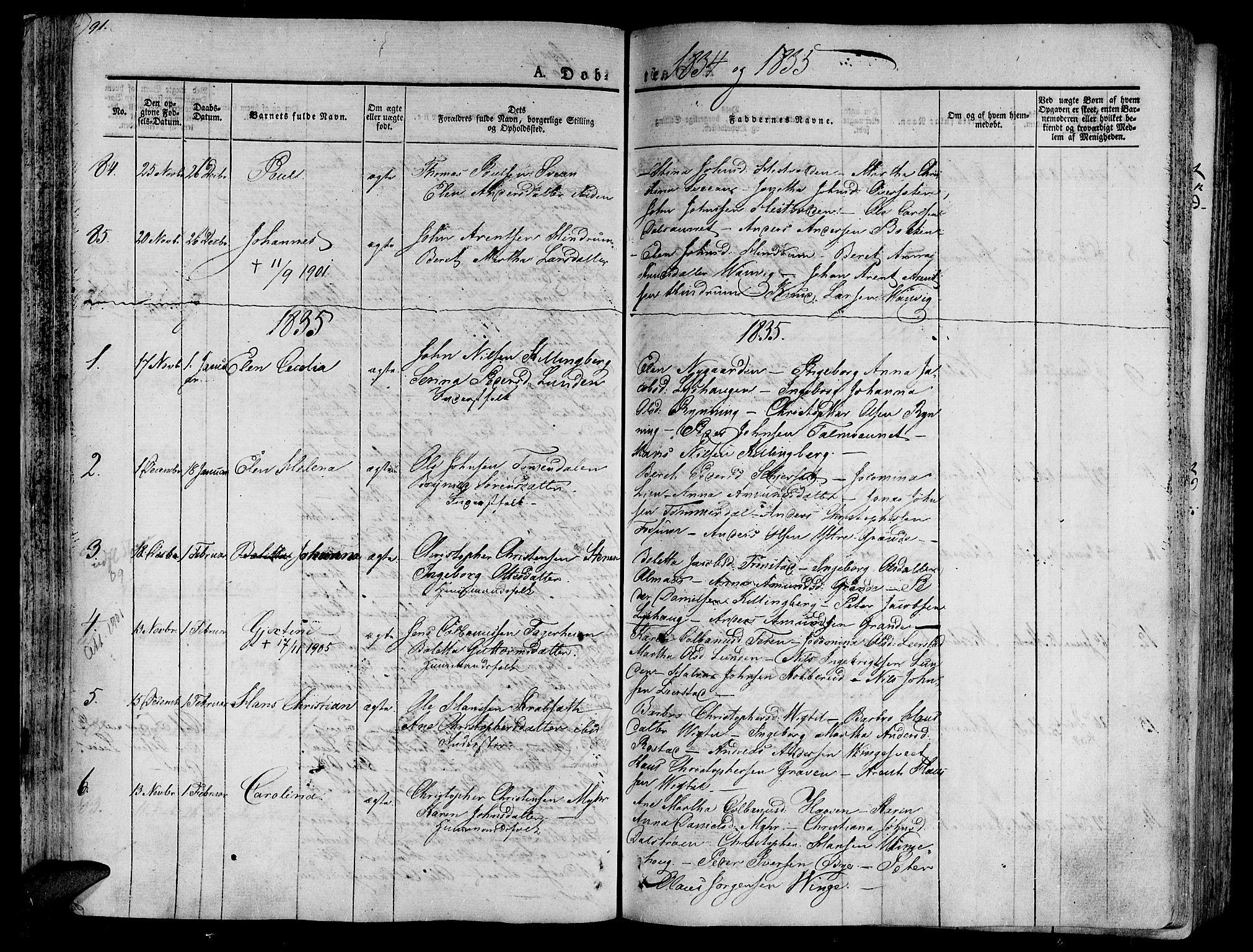 SAT, Ministerialprotokoller, klokkerbøker og fødselsregistre - Nord-Trøndelag, 701/L0006: Ministerialbok nr. 701A06, 1825-1841, s. 91