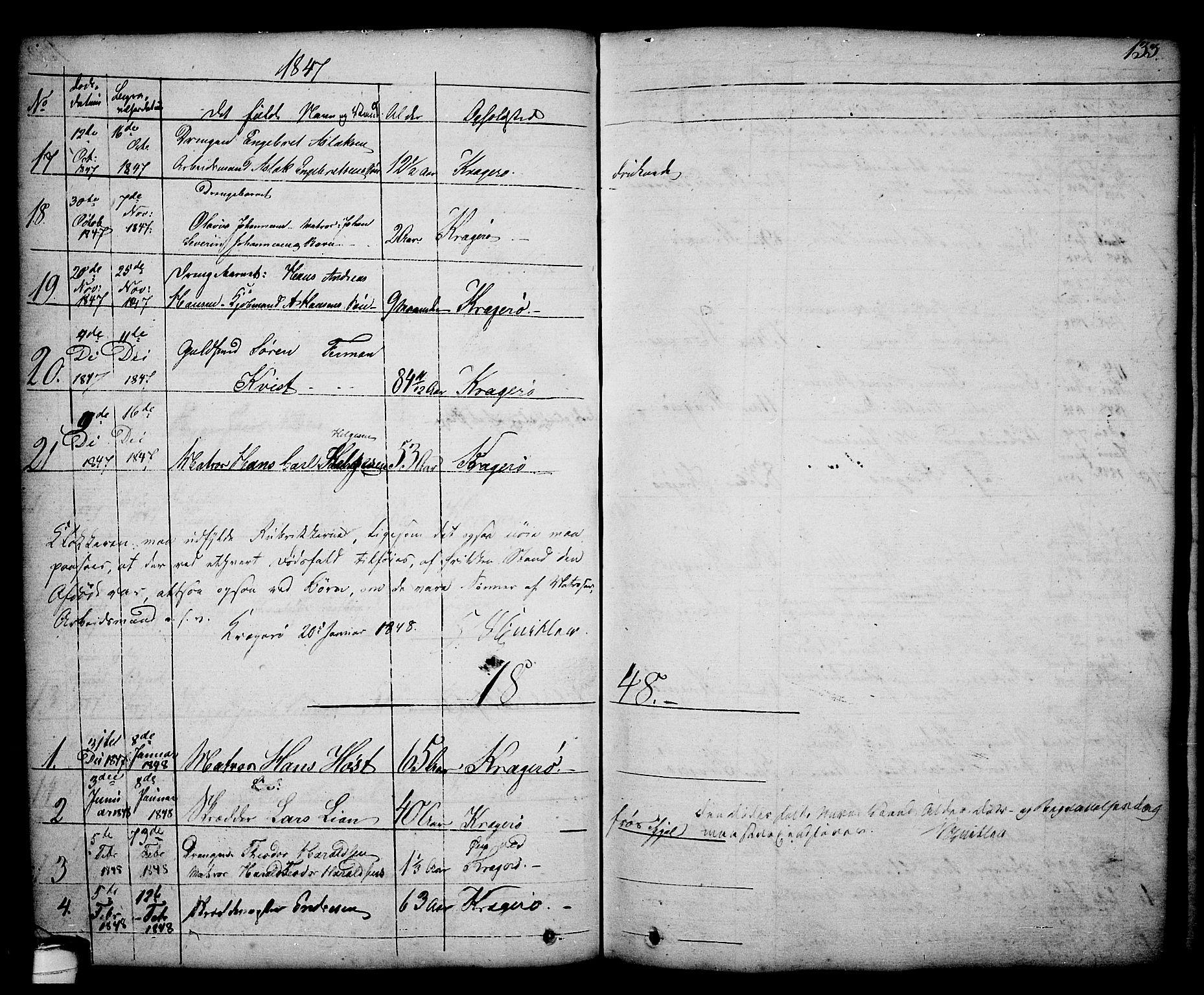 SAKO, Kragerø kirkebøker, G/Ga/L0003: Klokkerbok nr. 3, 1832-1852, s. 133