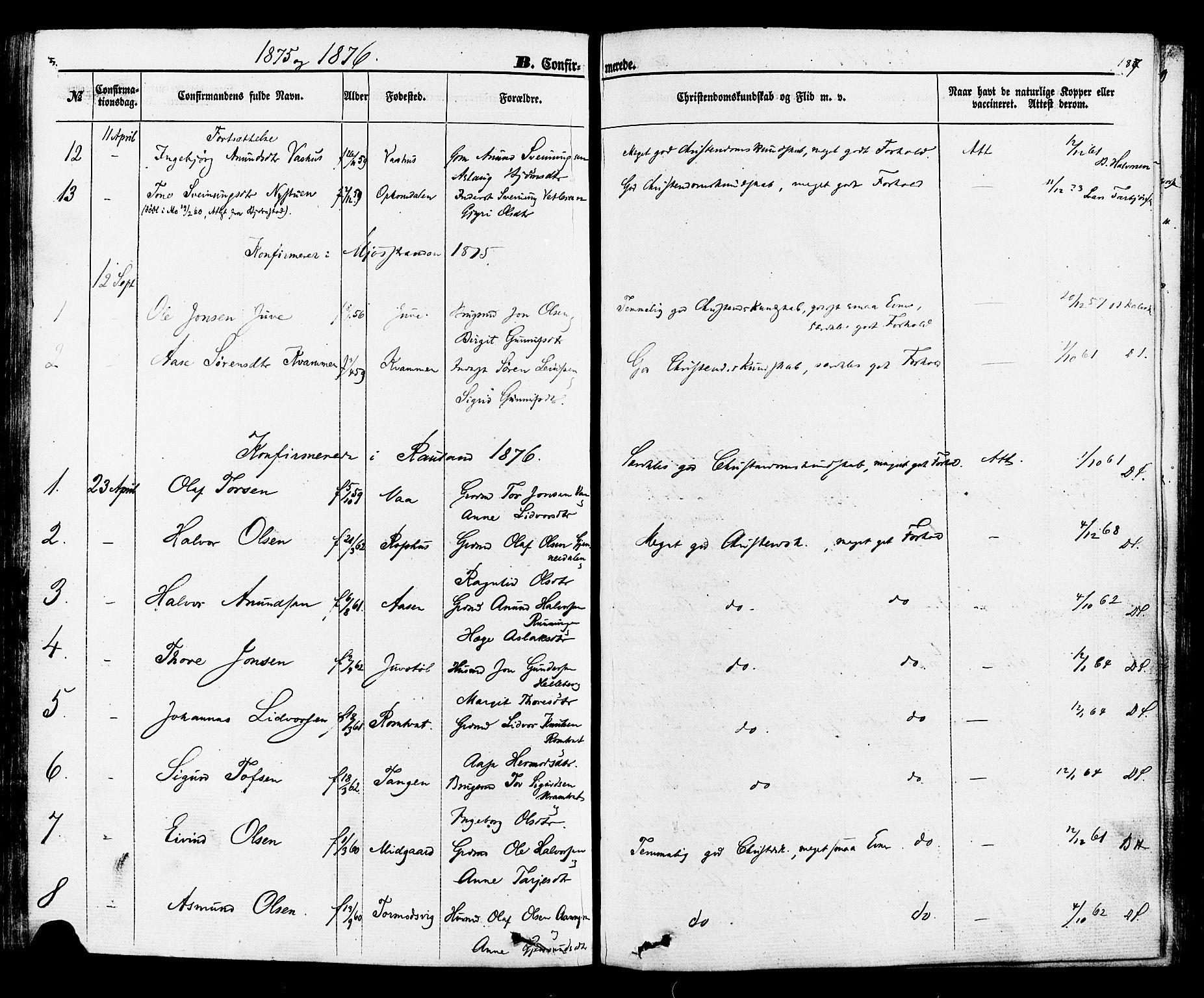 SAKO, Rauland kirkebøker, F/Fa/L0003: Ministerialbok nr. 3, 1859-1886, s. 187