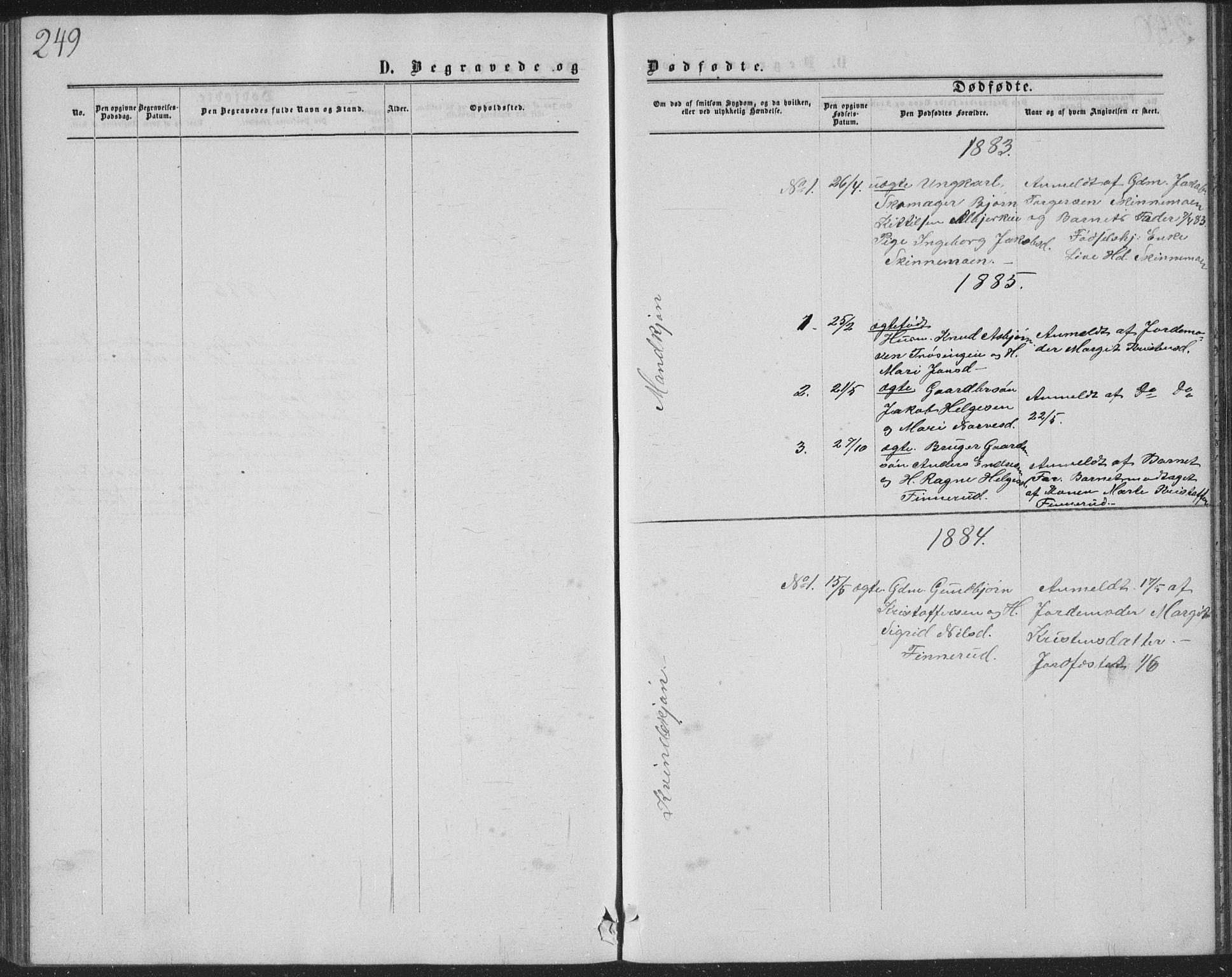 SAKO, Sigdal kirkebøker, G/Ga/L0004: Klokkerbok nr. I 4, 1879-1885, s. 249