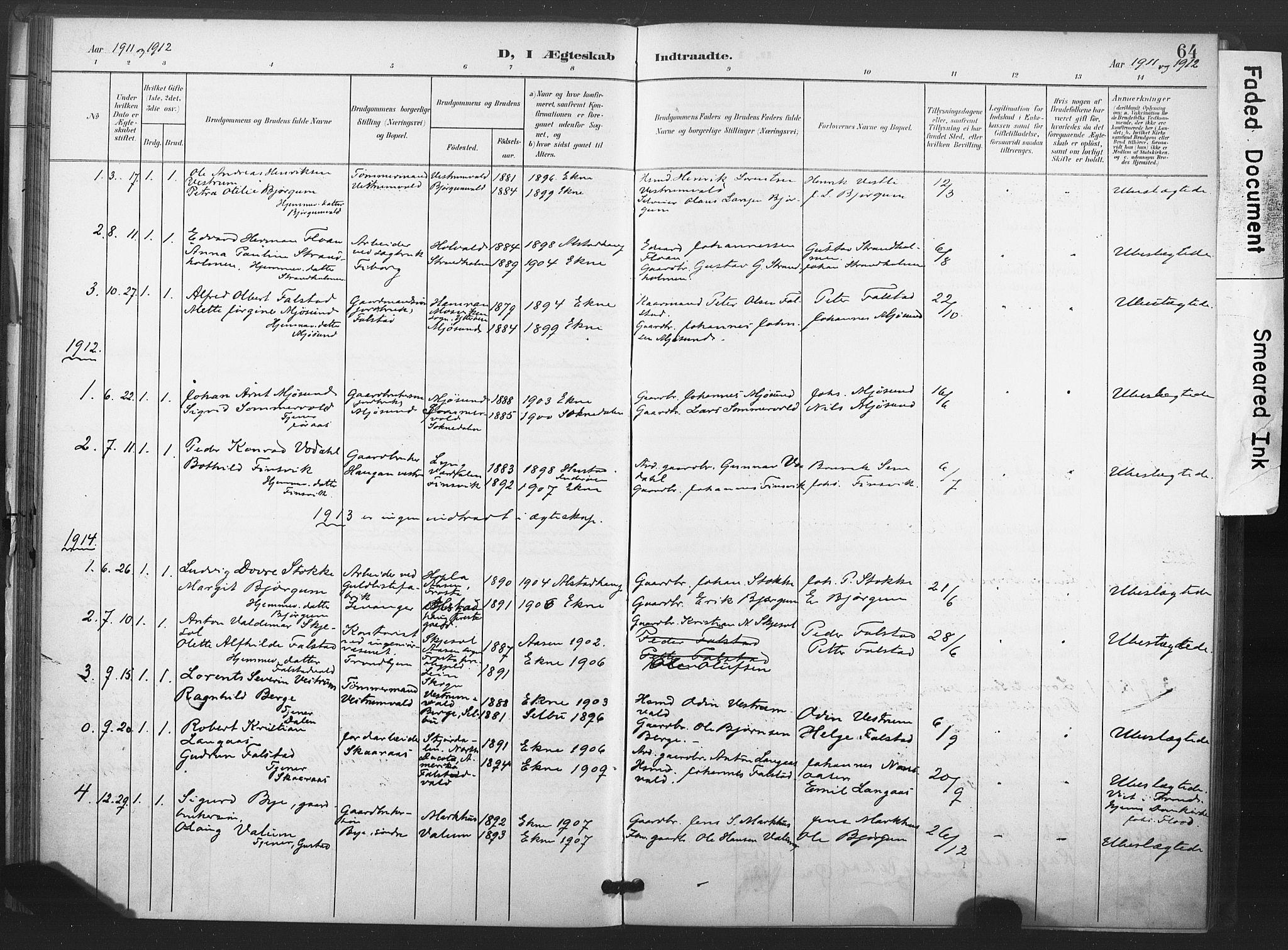 SAT, Ministerialprotokoller, klokkerbøker og fødselsregistre - Nord-Trøndelag, 719/L0179: Ministerialbok nr. 719A02, 1901-1923, s. 64