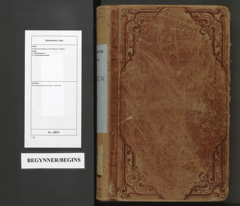 SAO, Norges brannkasse, branntakster Halden, F/Fa/L0017: Branntakstprotokoll, 1917-1922